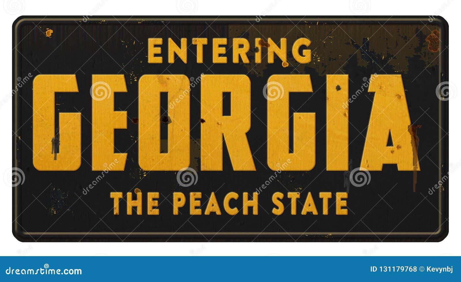 Grunge da estrada de Georgia State Sign Highway Freeway o estado do pêssego