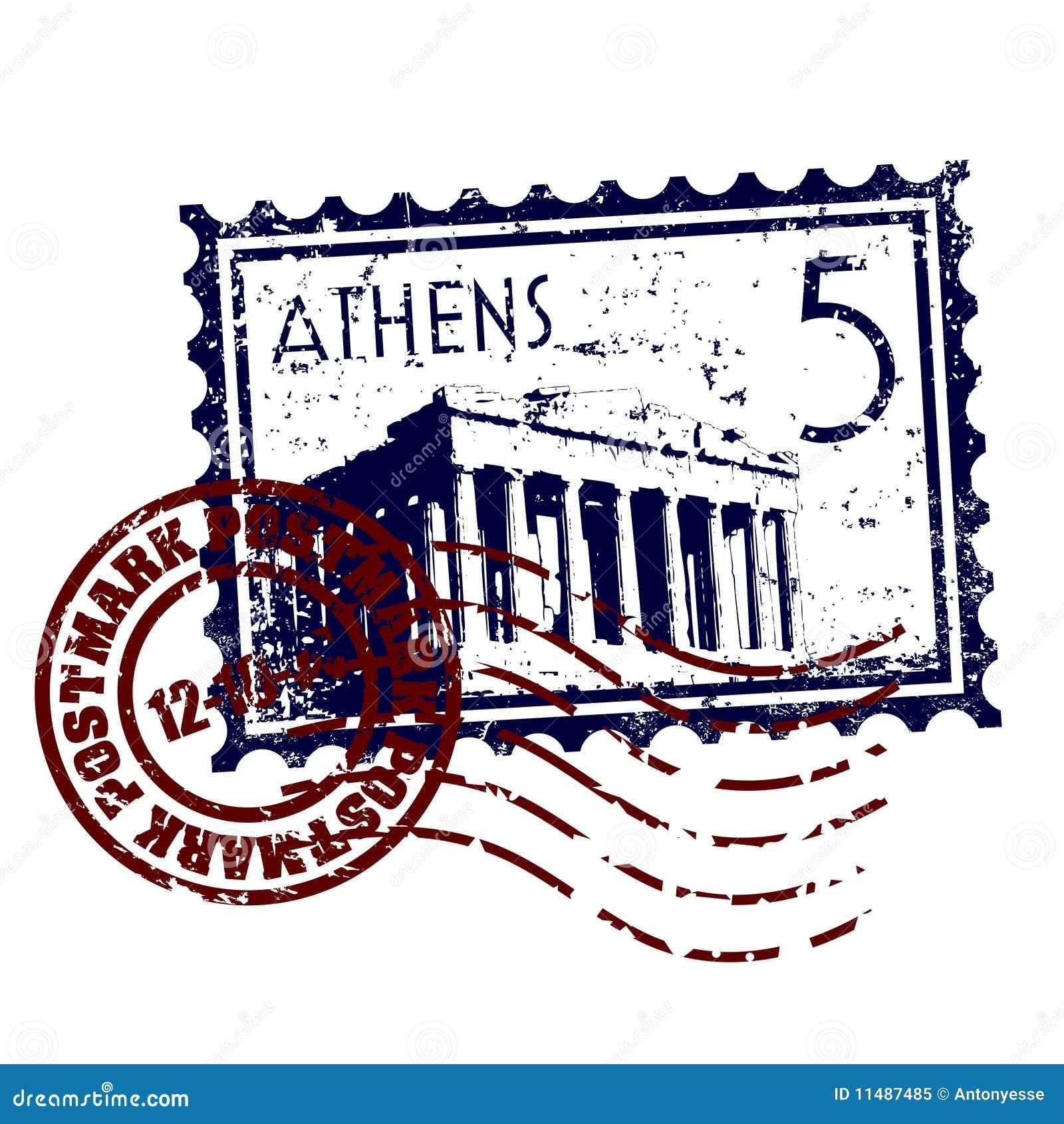 Grunge de type d estampille ou de cachet de la poste d Athènes