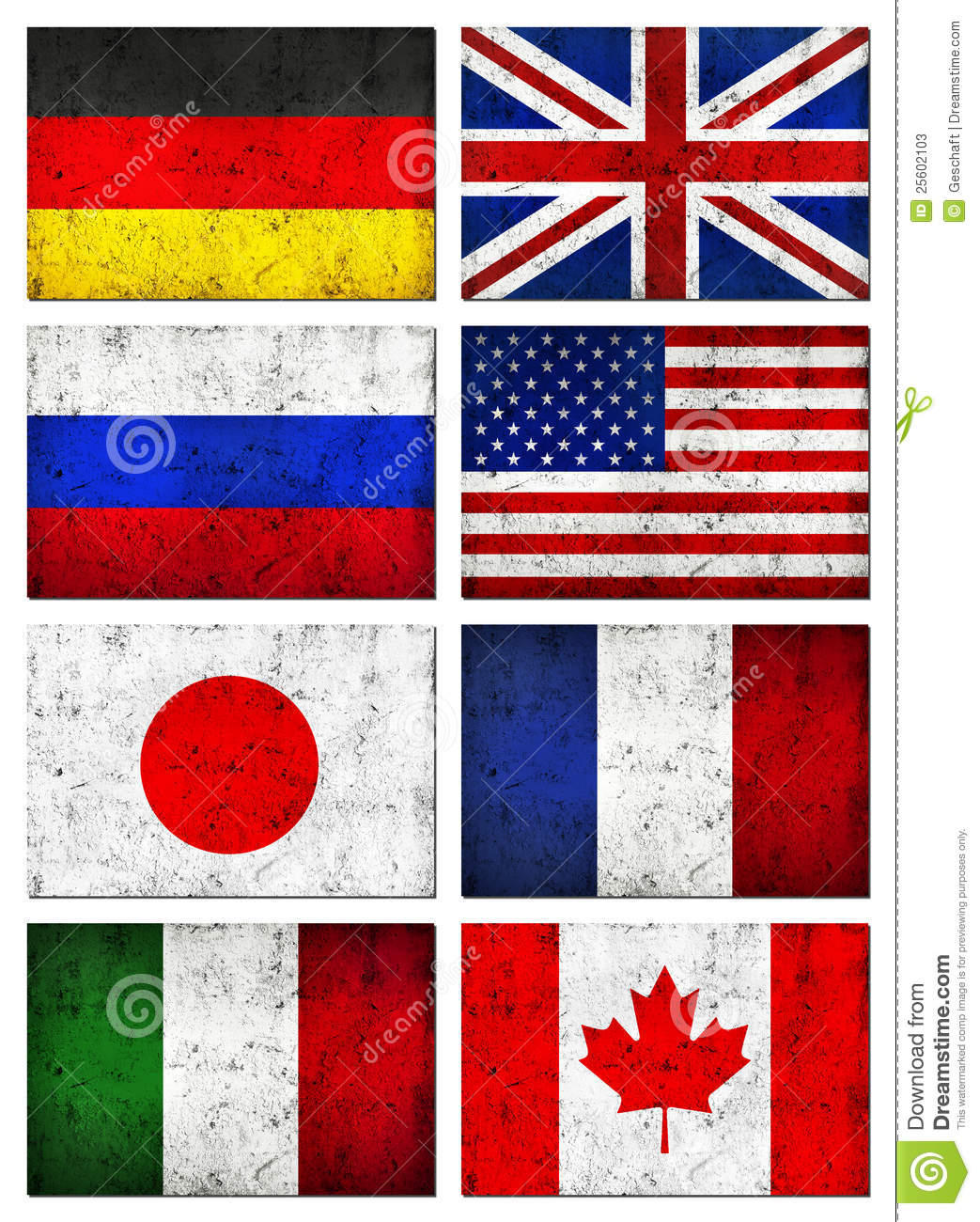 Grunge Dirty Great 8 (G8) Countries Flag Stock Image