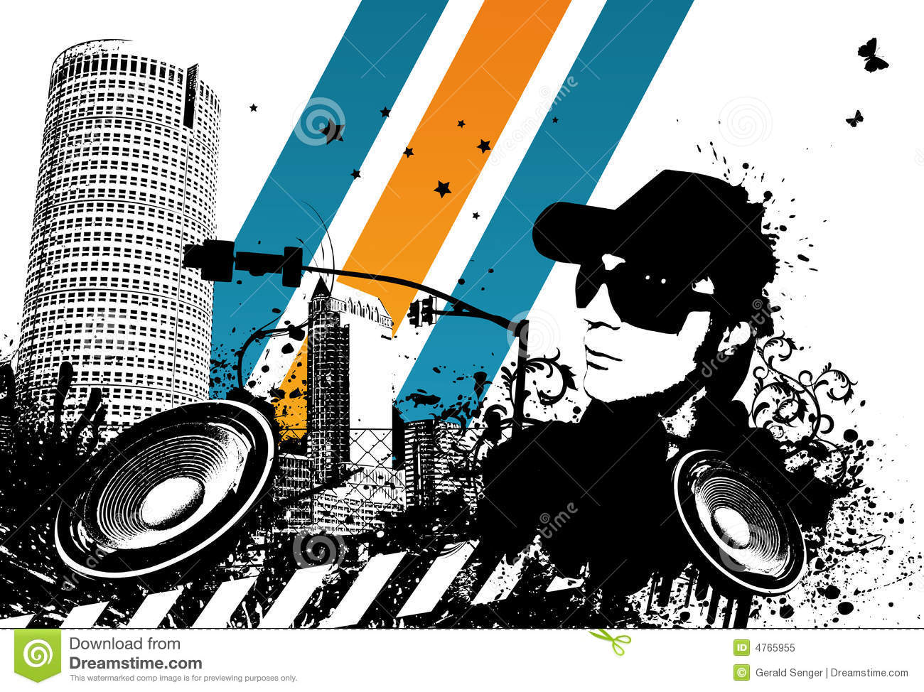 Grunge DJ City stock vector  Illustration of speacker - 4765955