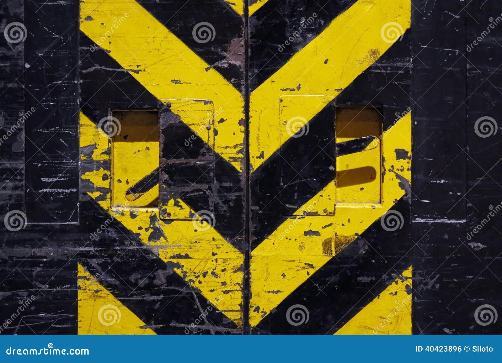 grunge door yellow and black stripes stock photo image of alert
