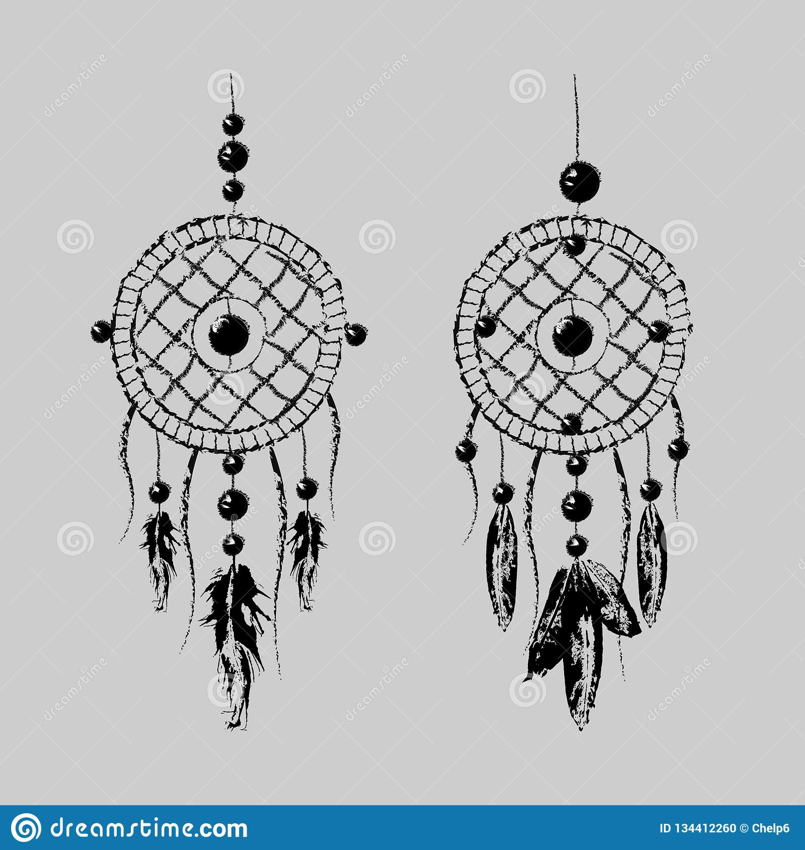 f98a701a1 Grunge Dreamcatcher with feathers and branches. Sweet dream. Native  American Indian talisman. Boho