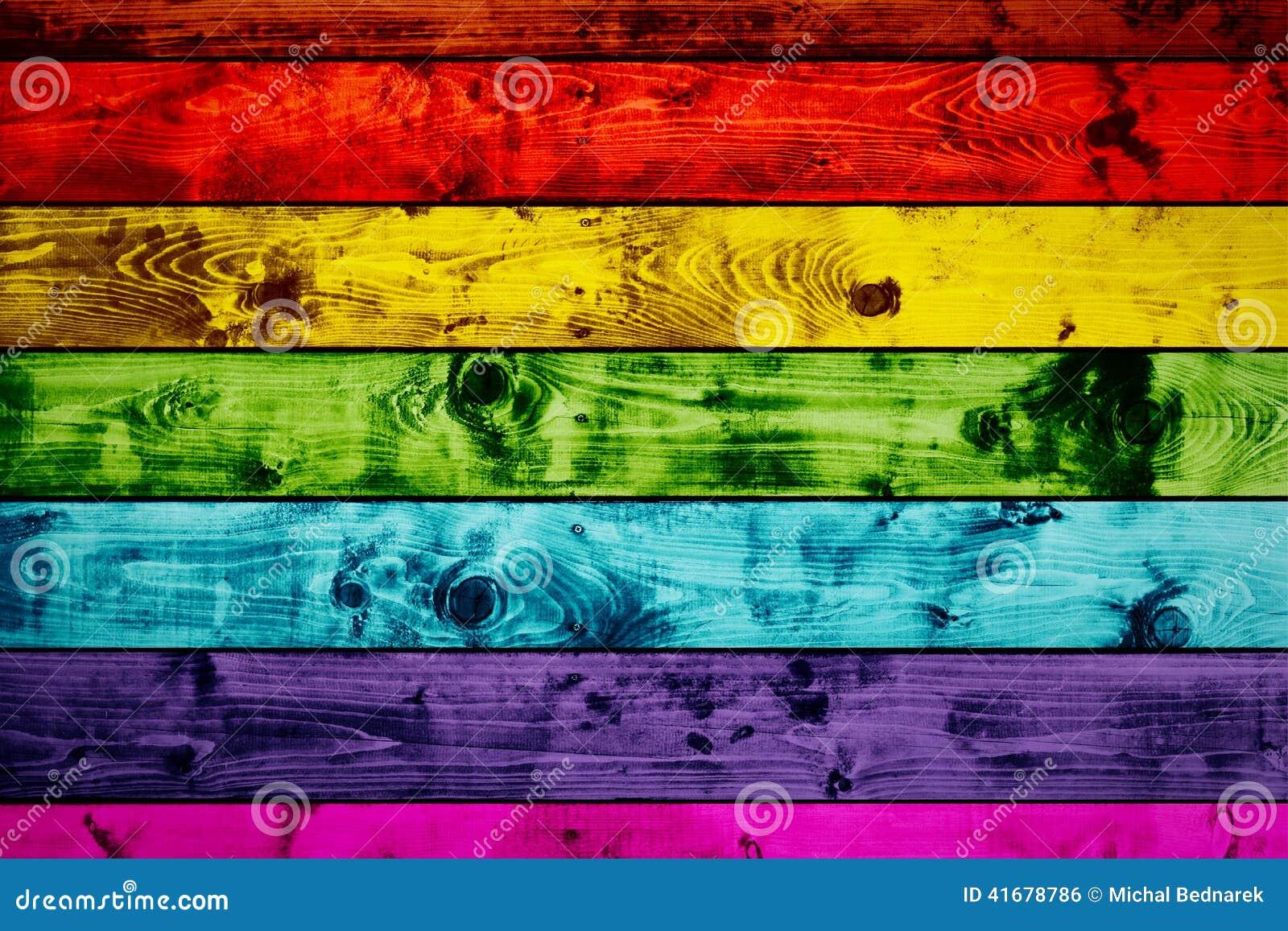 Grunge drewna desek kolorowy tło w tęczy barwi