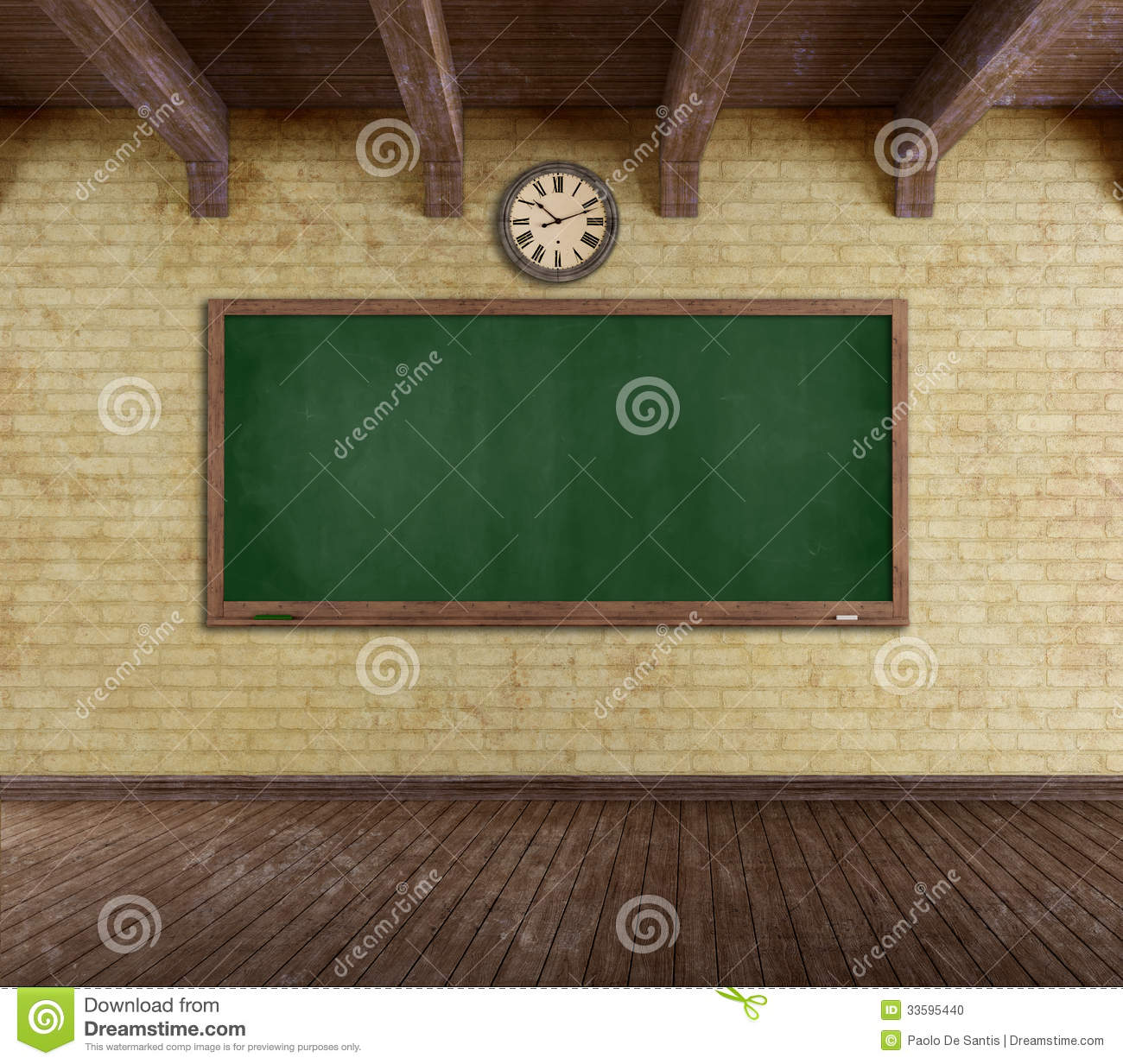 Grunge Empty Classroom Stock Photo Image 33595440