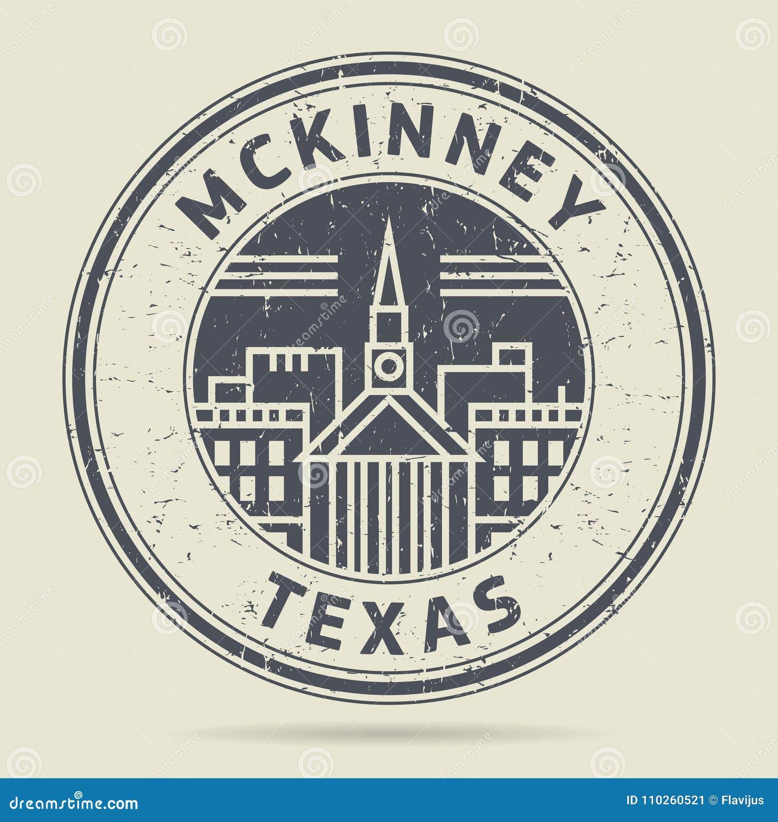 Grunge etykietka z tekstem Mckinney lub pieczątka, Teksas