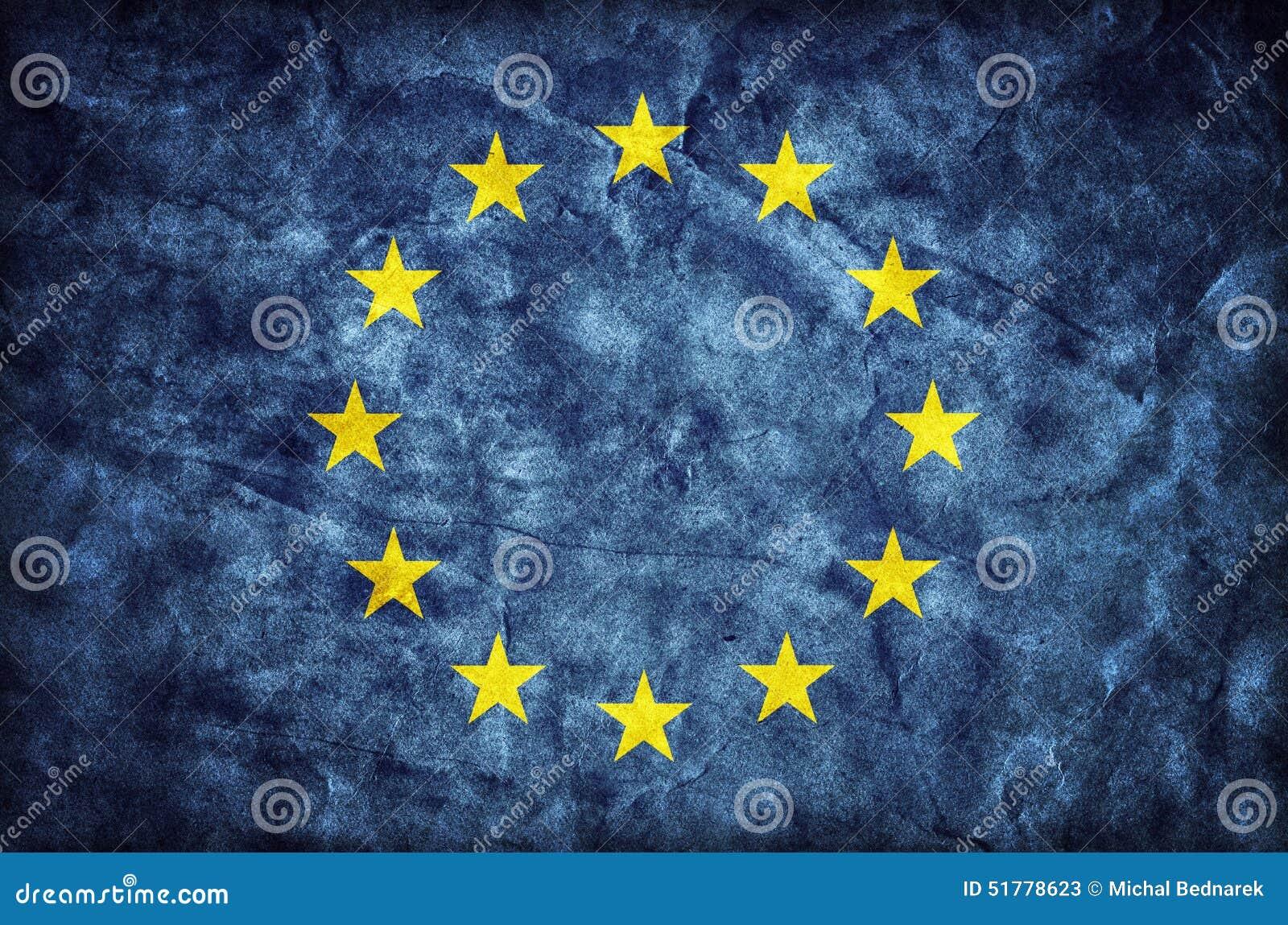 Grunge Europejska Zrzeszeniowa flaga, papierowa tekstura UE