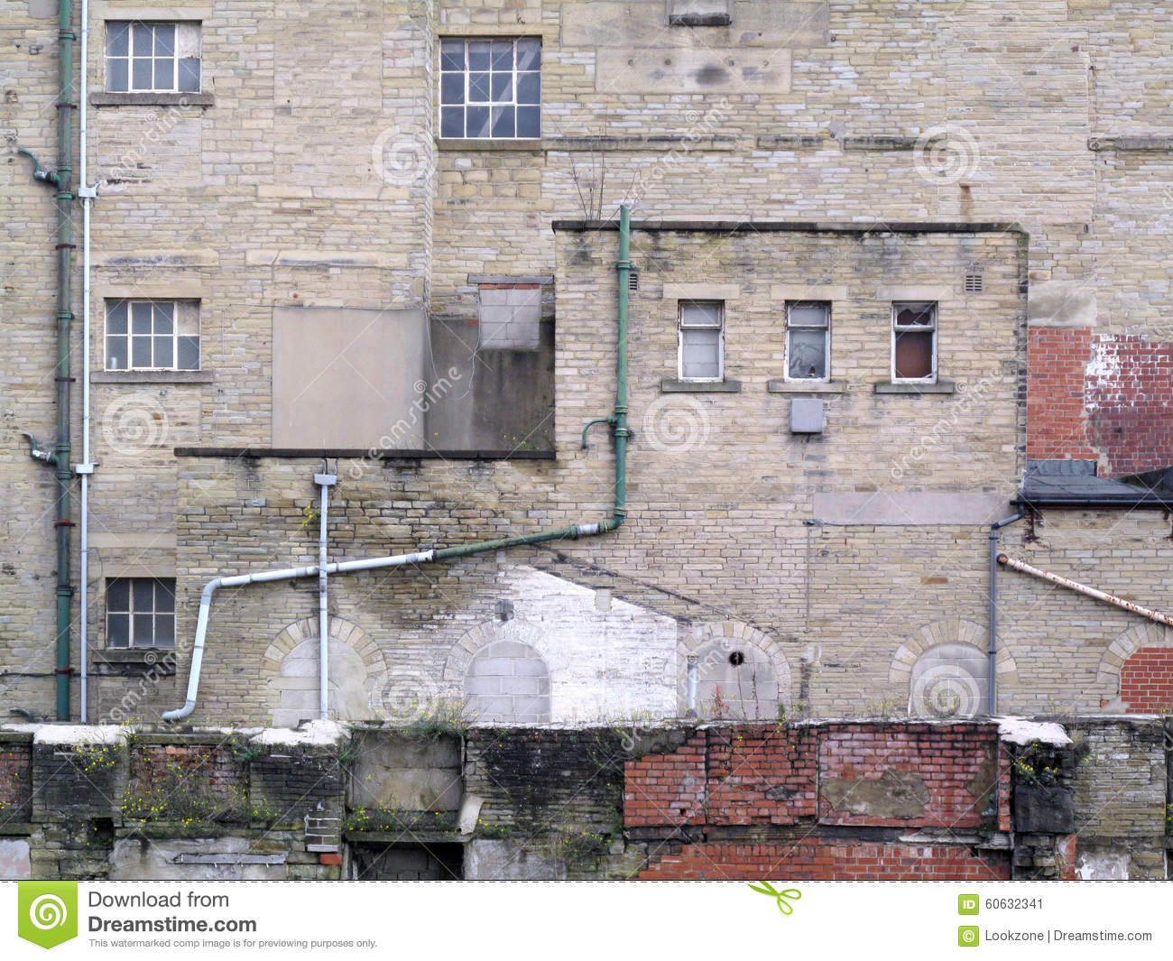 Grunge Factory Building Wall Stock Photo Image 60632341