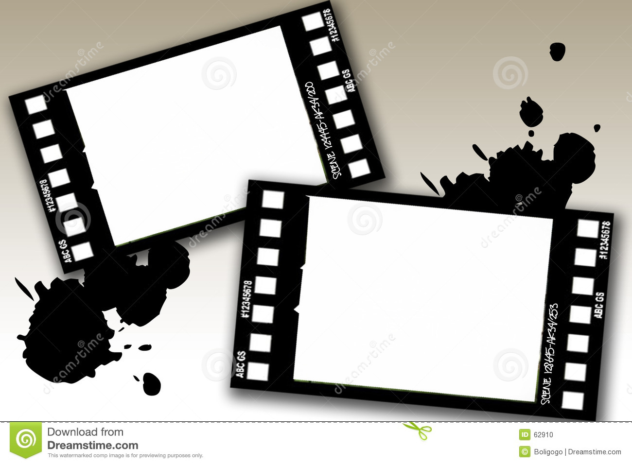 Grunge film frames stock illustration. Illustration of canvas - 62910