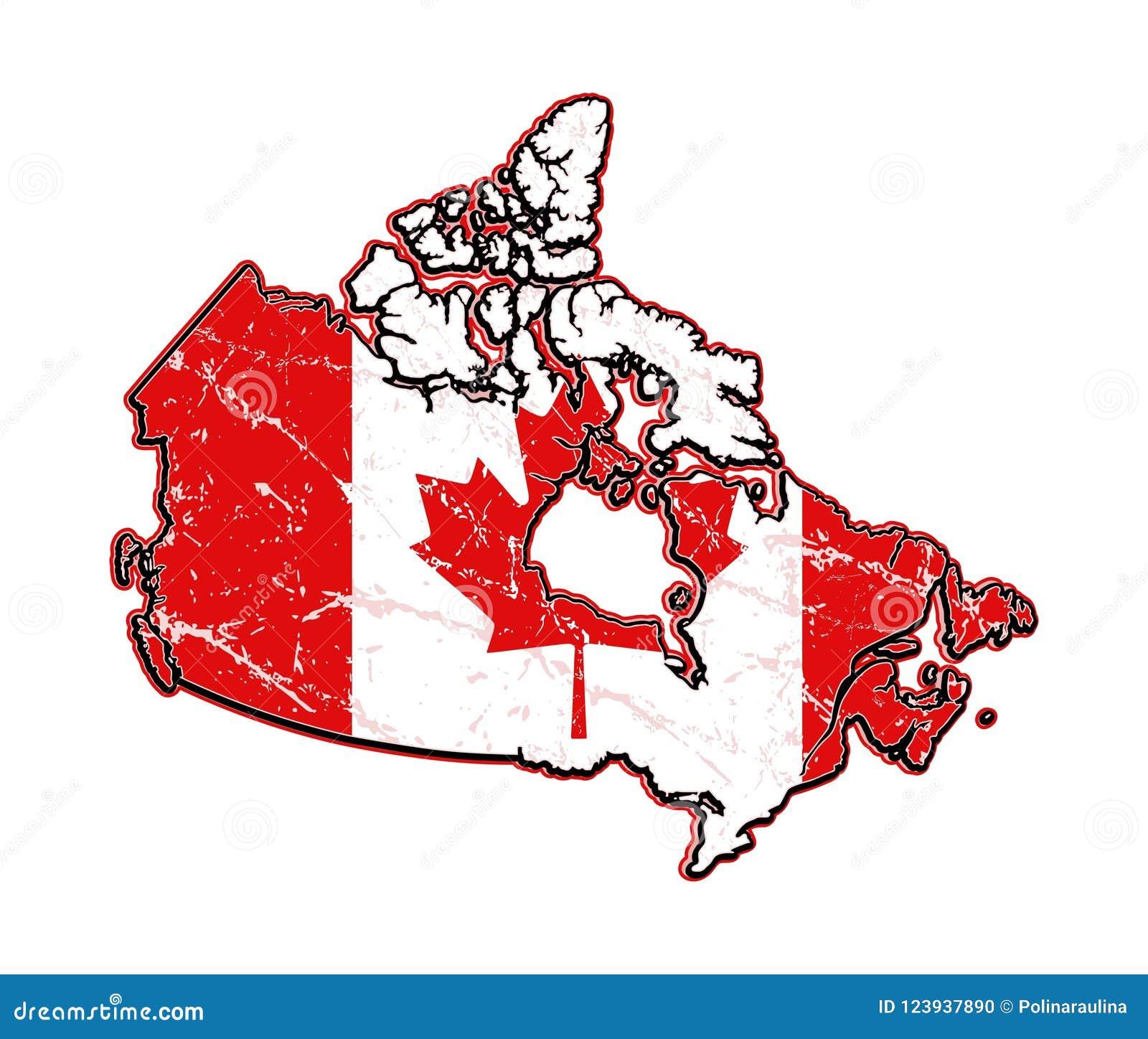 American Flag.Canada Grunge Flag-map. Stock Illustration ...