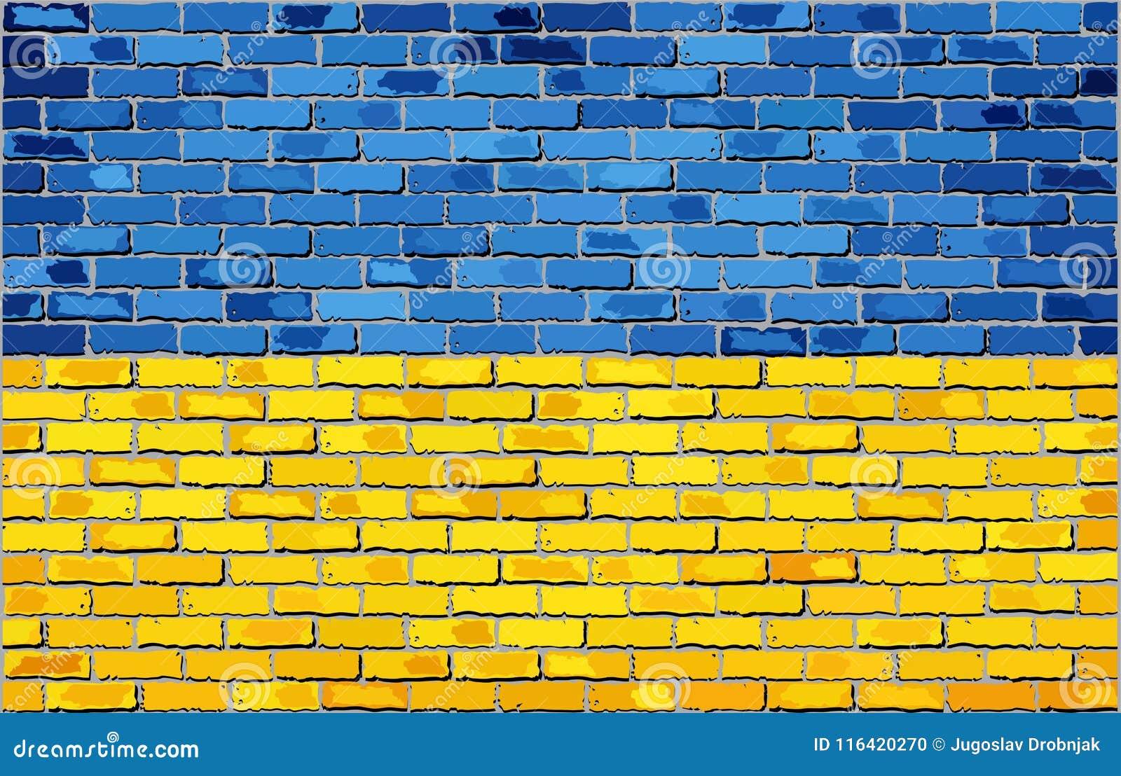 Grunge flaga Ukraina na ściana z cegieł