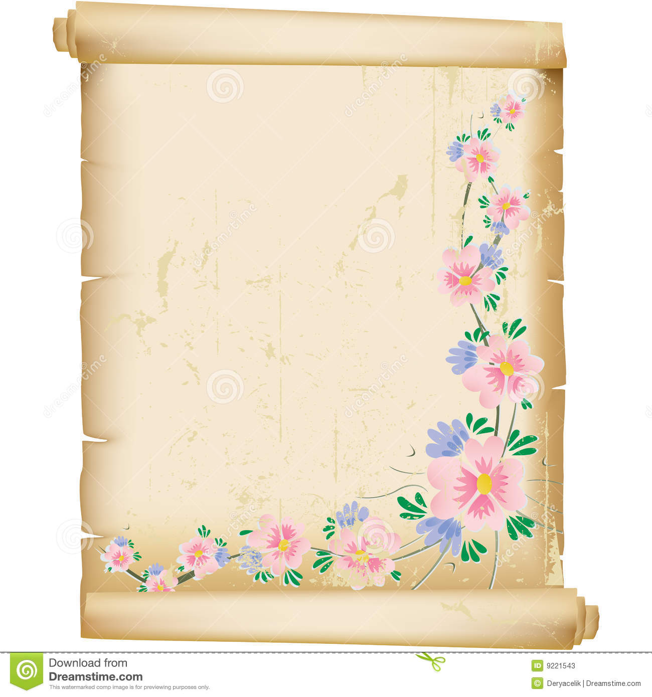 Grunge floral background on vintage manuscript pap