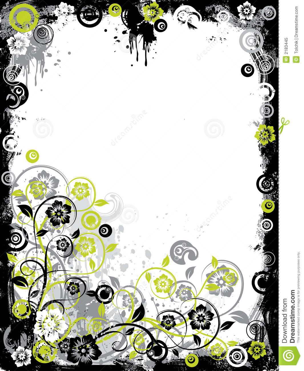 Royalty Free Stock Photo  Grunge floral border  vectorVector Floral Border