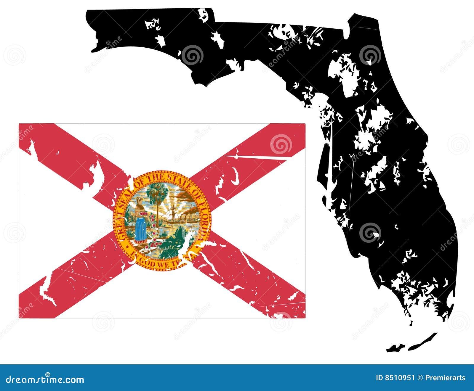 Grunge Florida Map With Flag Stock Image  Image 8510951