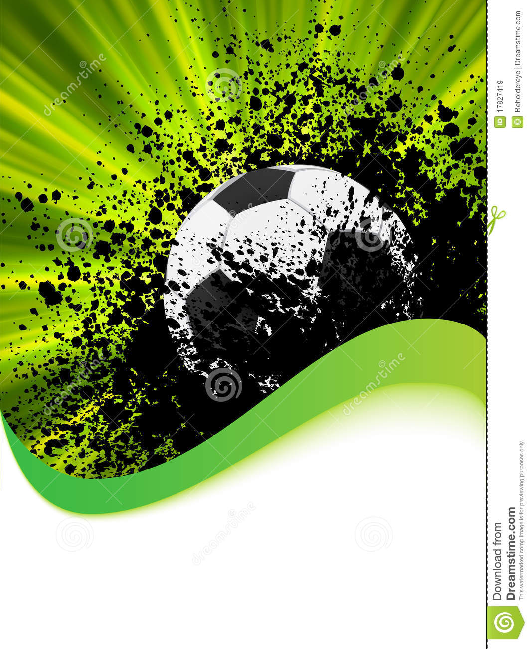 Grunge Football Poster With Soccer Ball Eps 8 Royalty