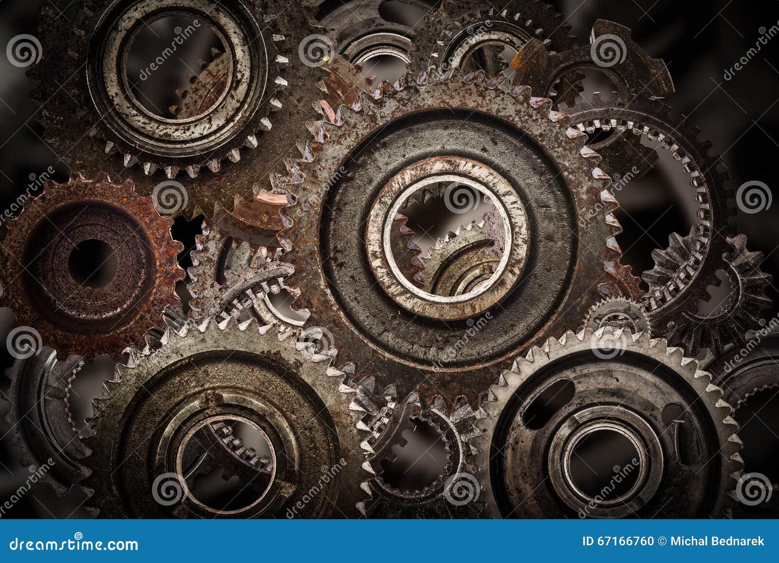 Grunge Gear Cog Wheels Mechanism Background Industry