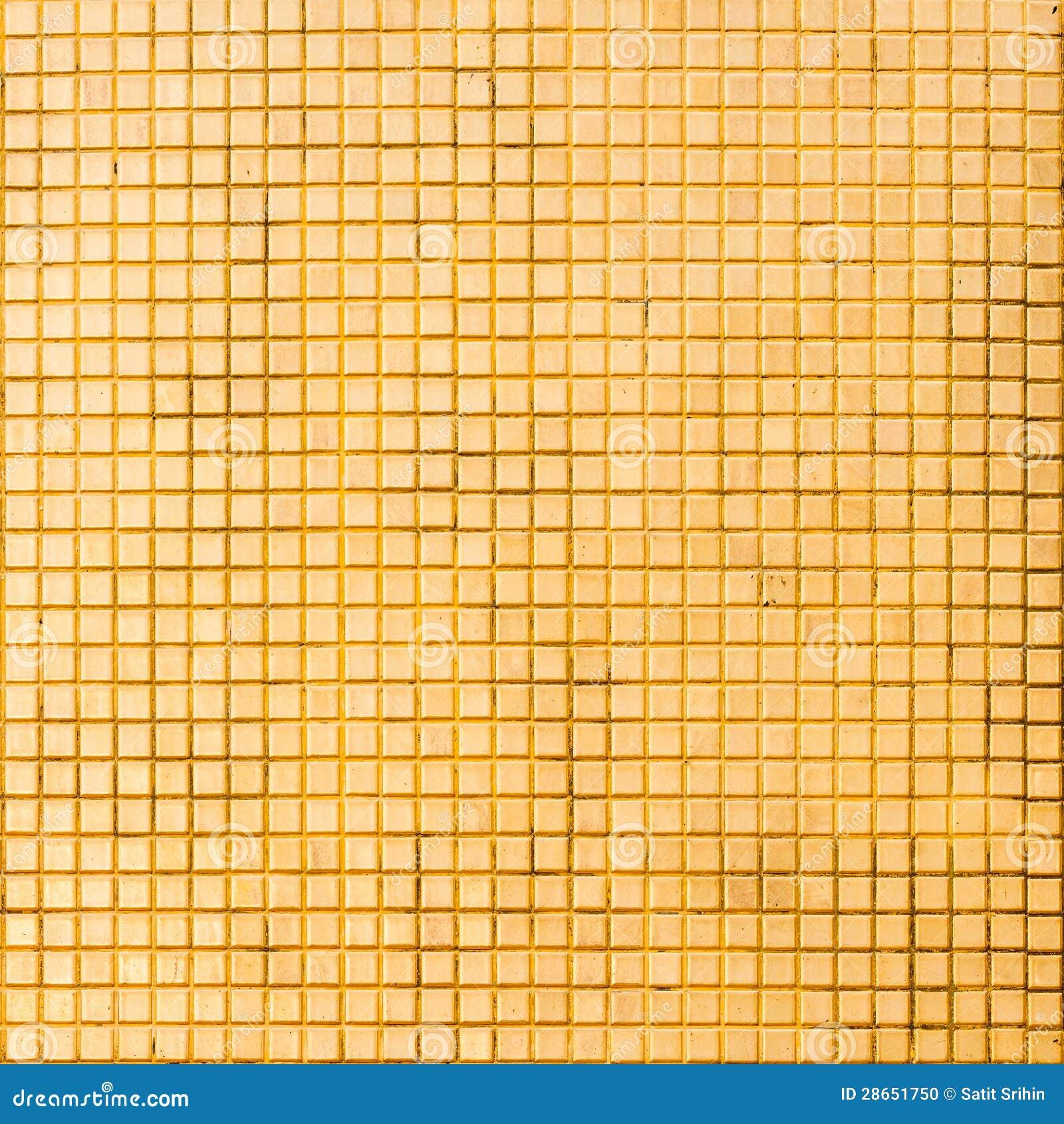 Grunge Golden Mosaic Tiles Texture Stock Photo Image
