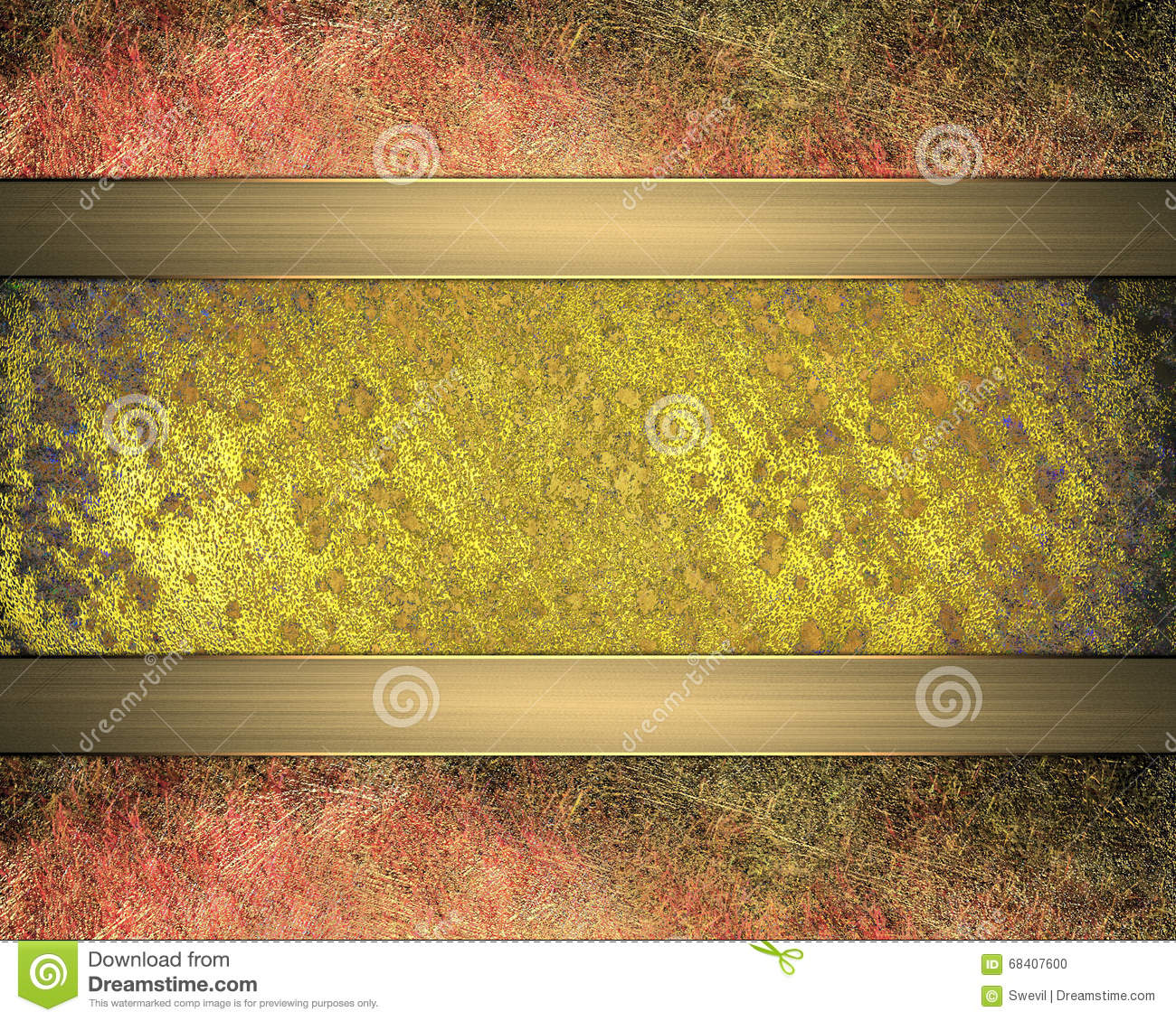 grunge golden plaque with reddish edges element for design