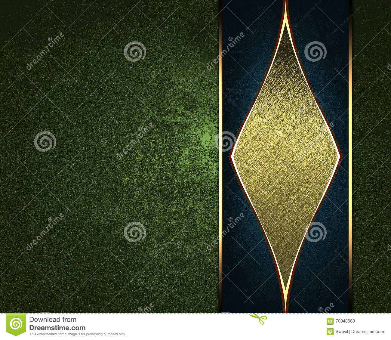 grunge green background with a gold ornament. template for design