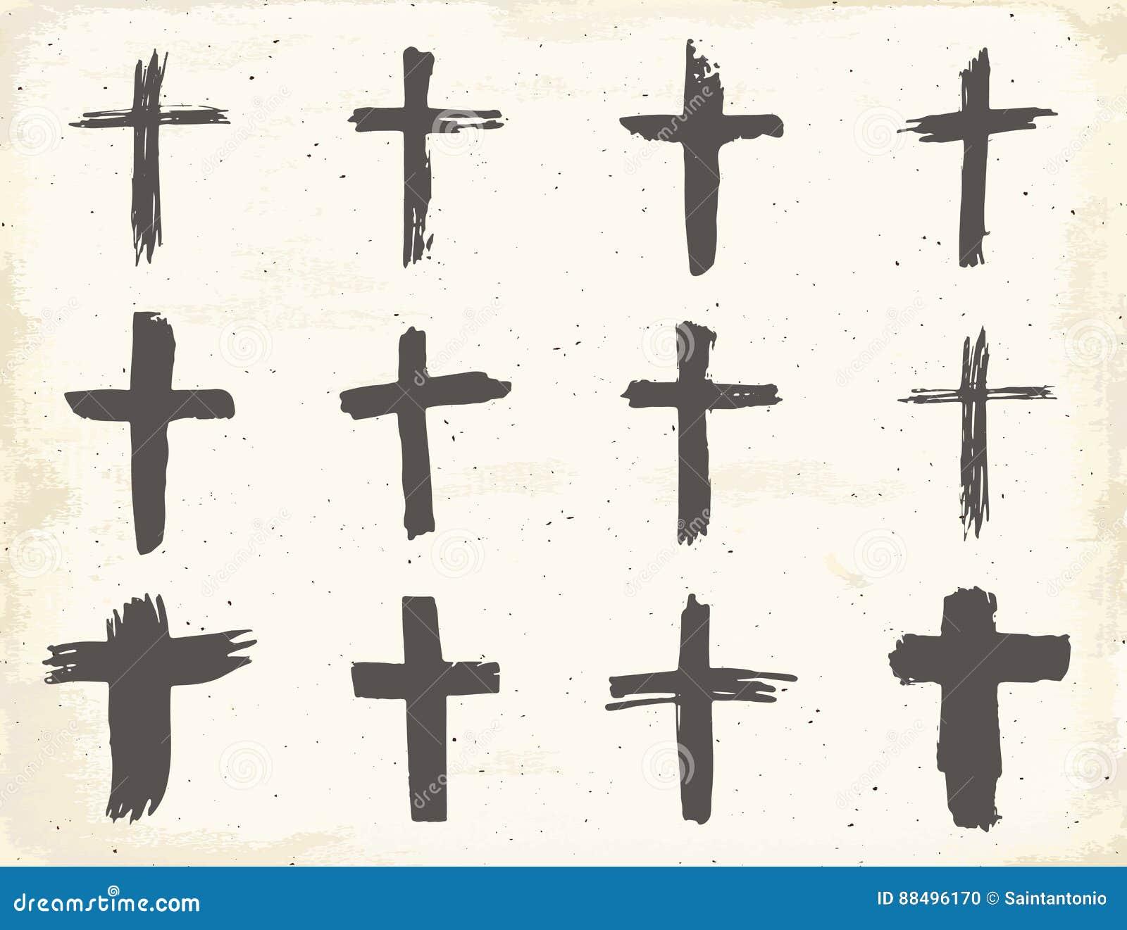Grunge Hand Drawn Cross Symbols Set Christian Crosses Religious