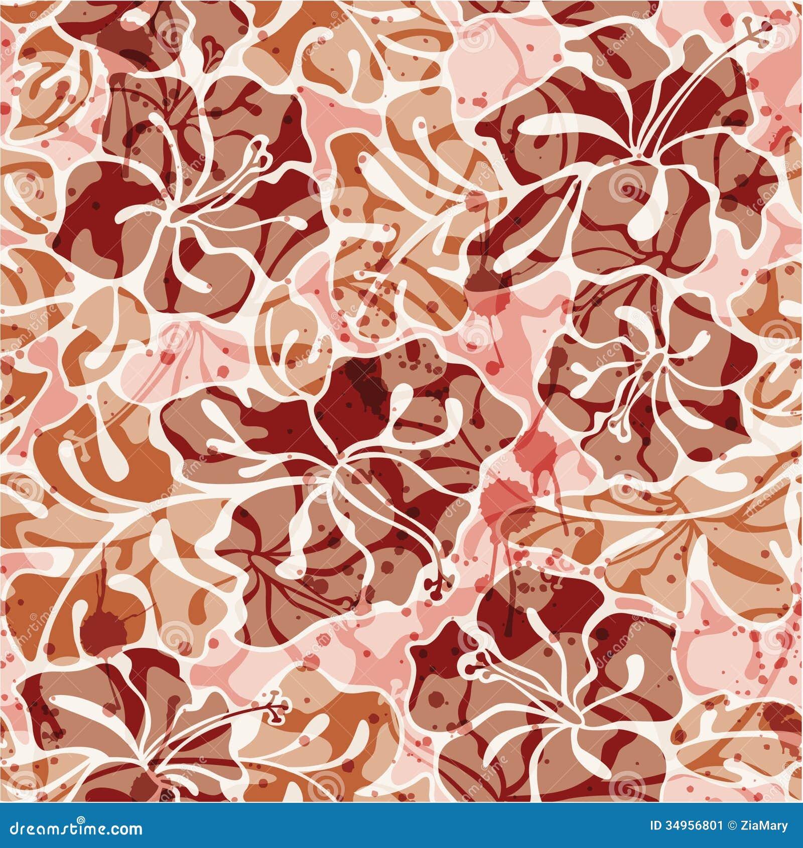 grunge hibiscus flowers seamless pattern stock image