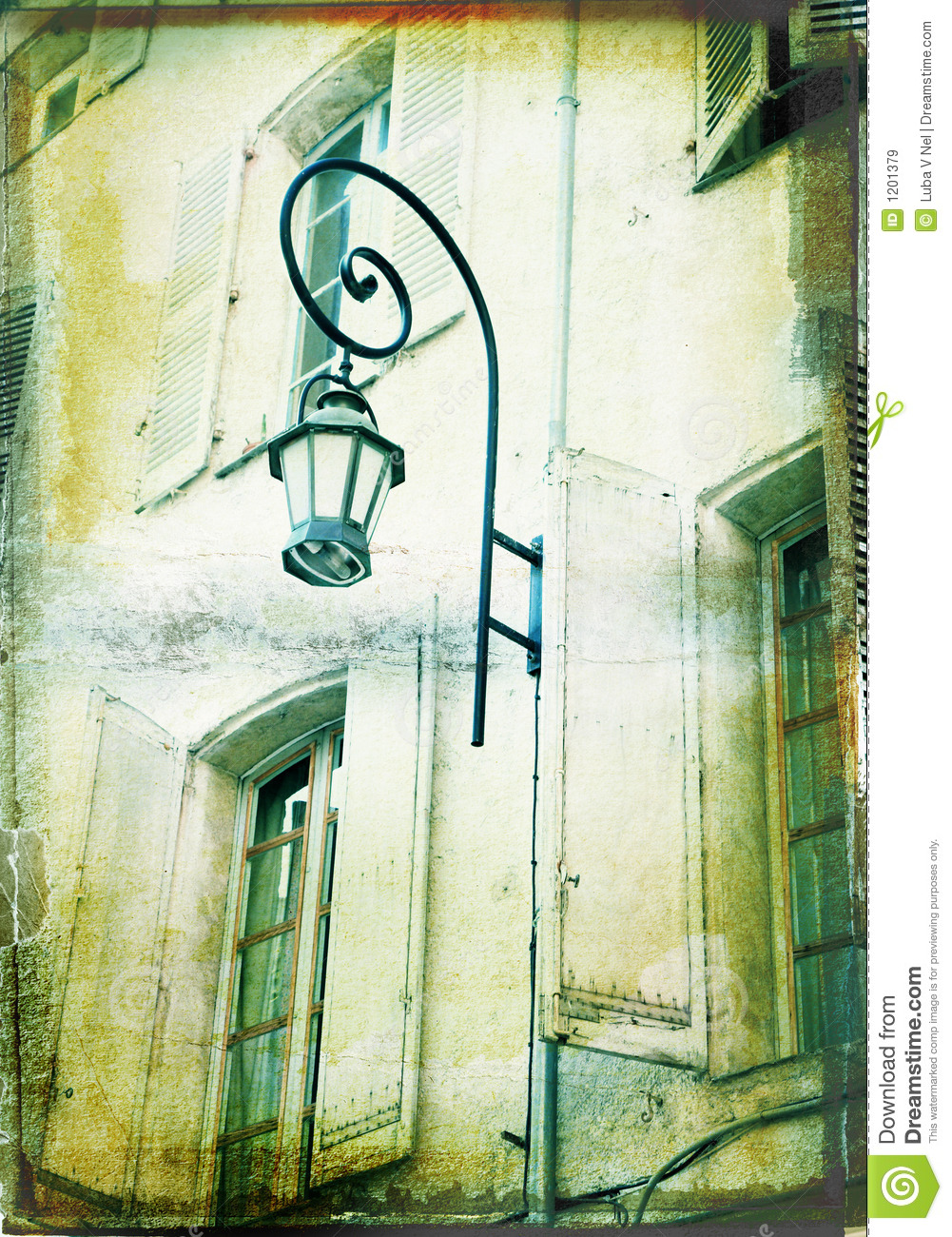 Grunge illustration of a house with a lamp