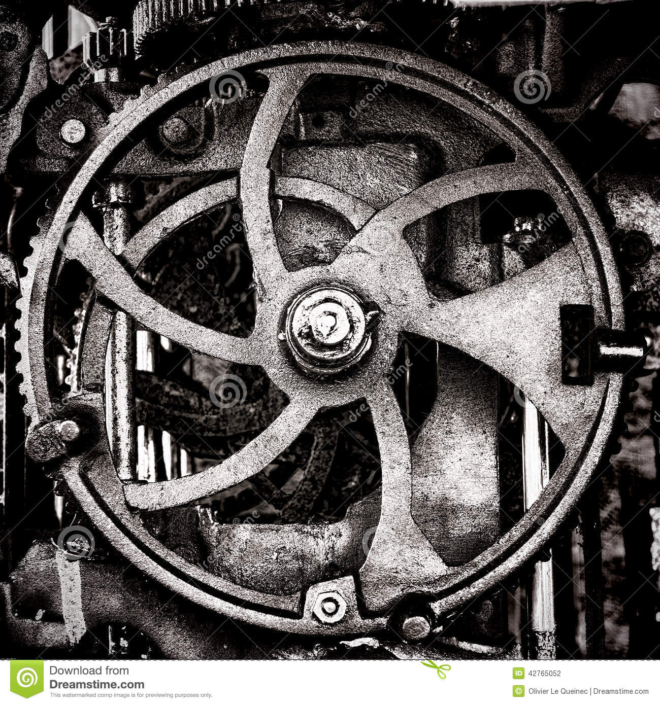 Grunge Industrial Antique Machine Old Cog Wheel Stock