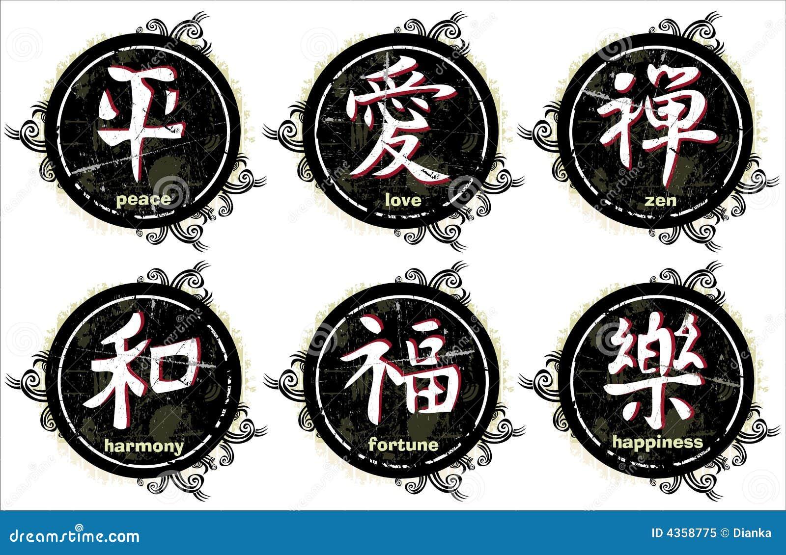 Grunge kanji japoński list