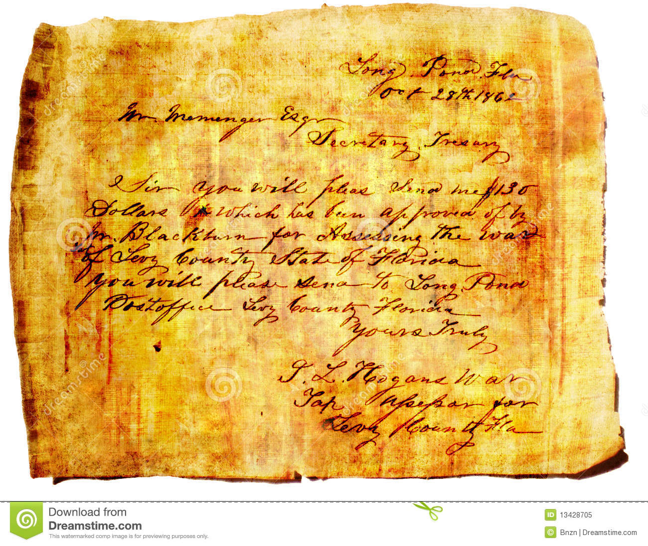 Grunge Letter On Papyrus Paper Royalty Free Stock Photo ...