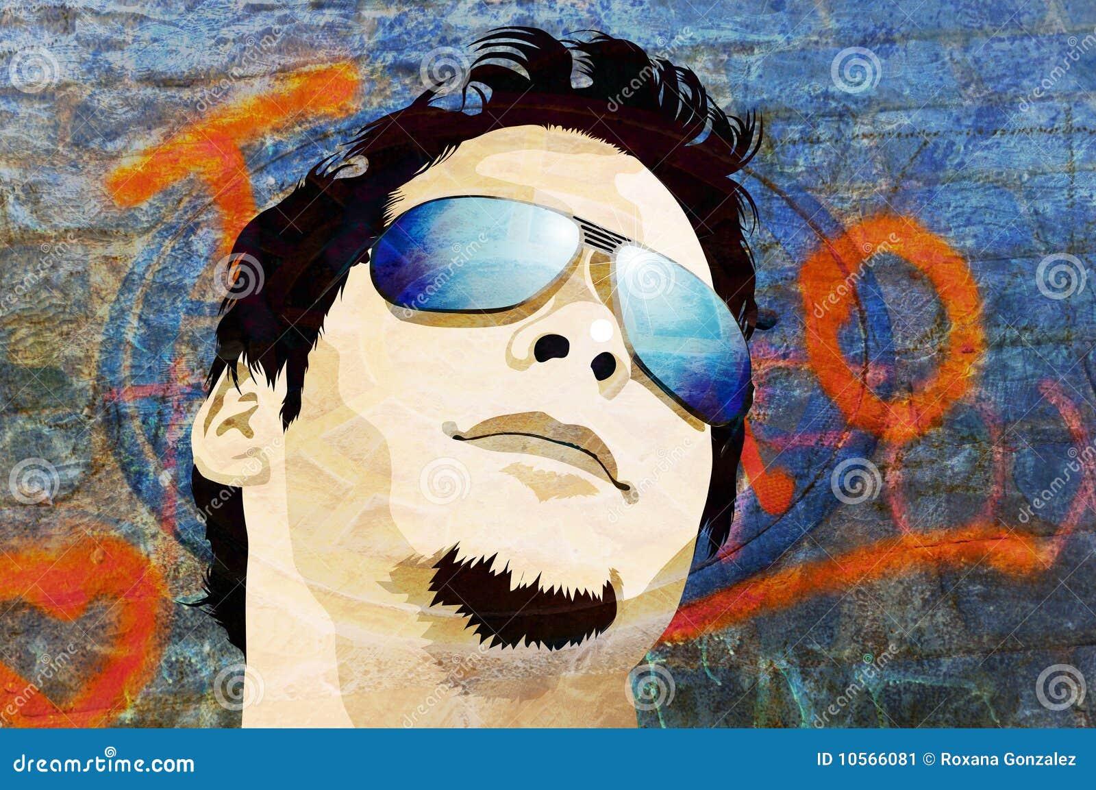 Grunge mężczyzna okulary przeciwsłoneczne