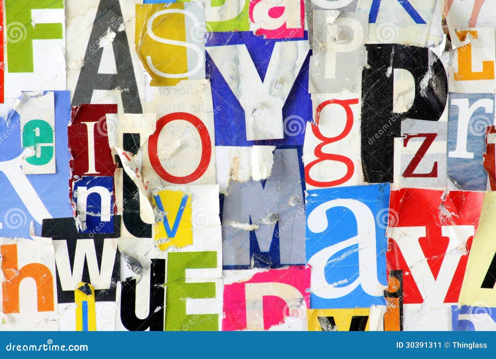 grunge magazine letter background stock image