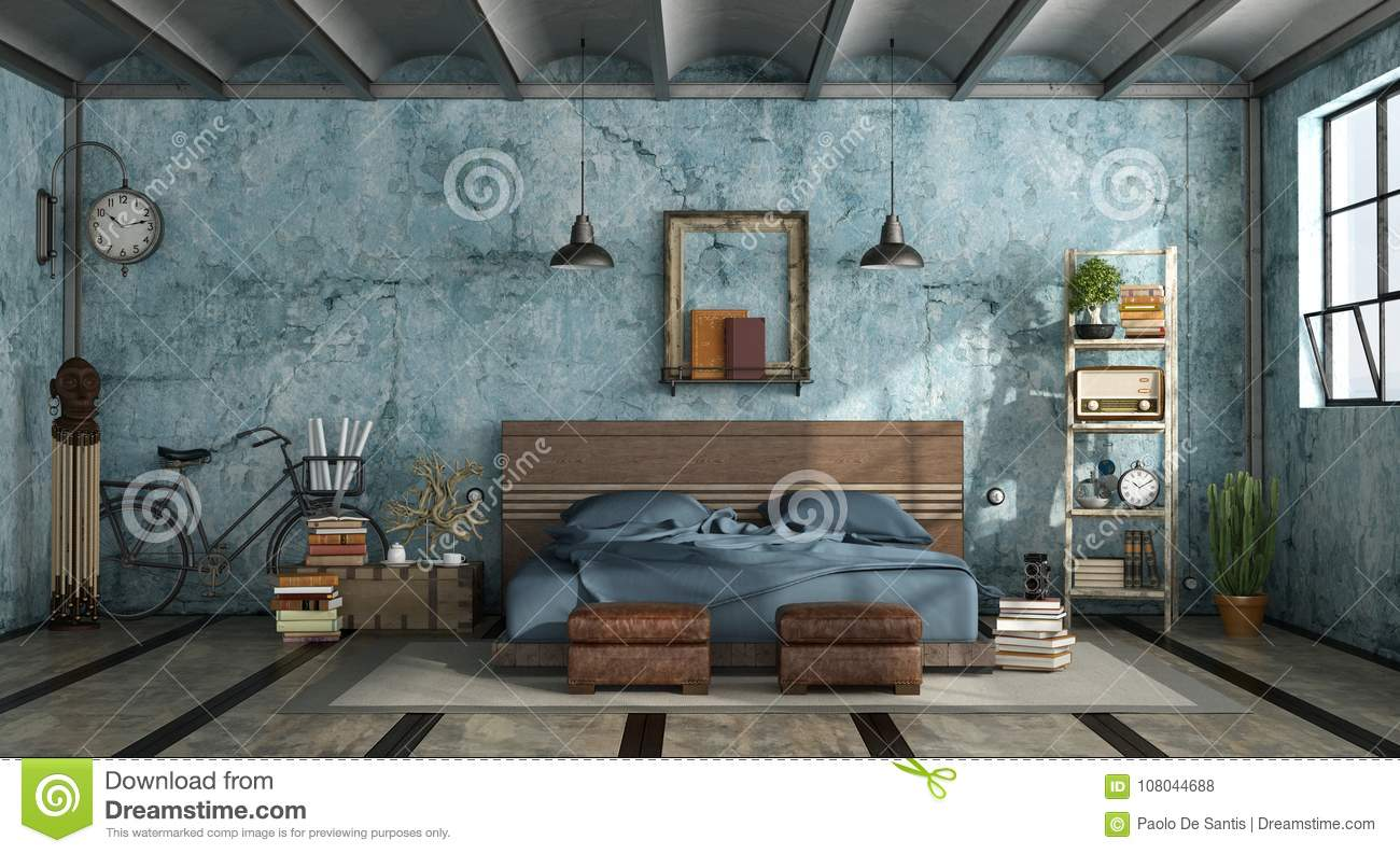 Letto Stile Industriale.Grunge Mastern Bedroom In Industrial Style Stock Illustration