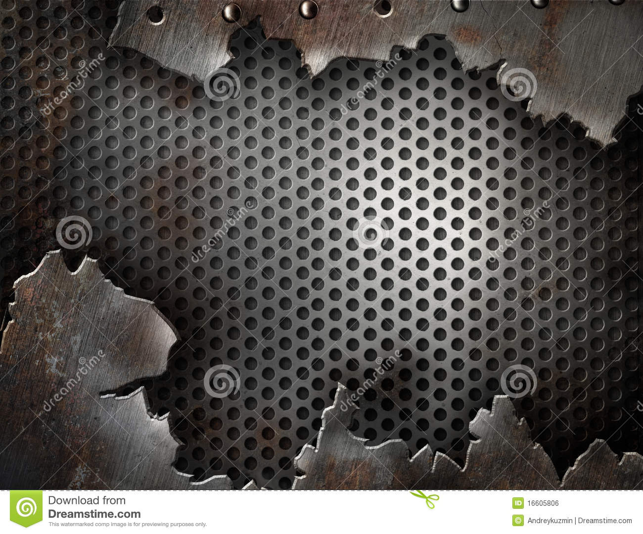 Grunge metal cracked with rivets template