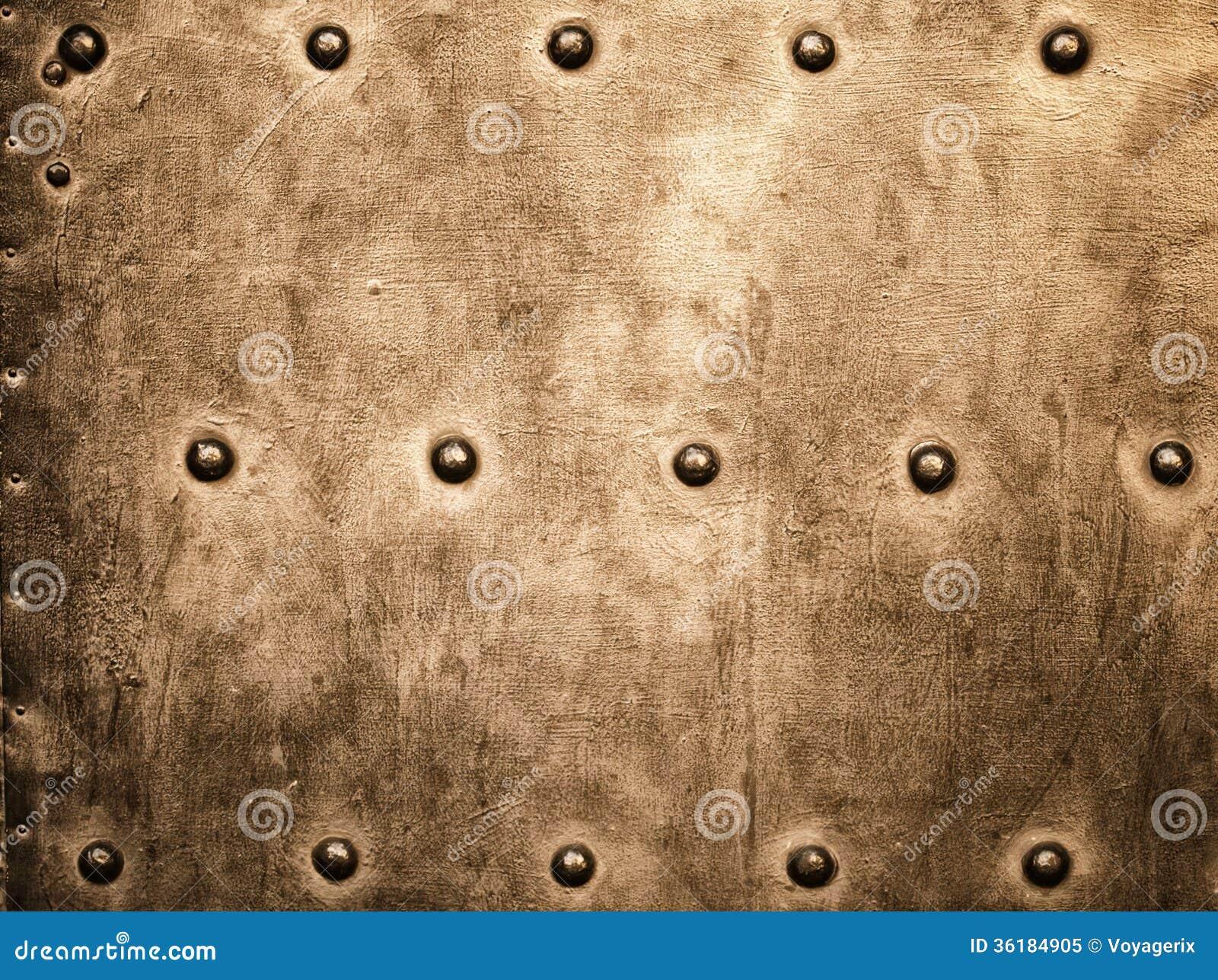 Grunge metalu złocisty brown talerz nituje śruby tła teksturę