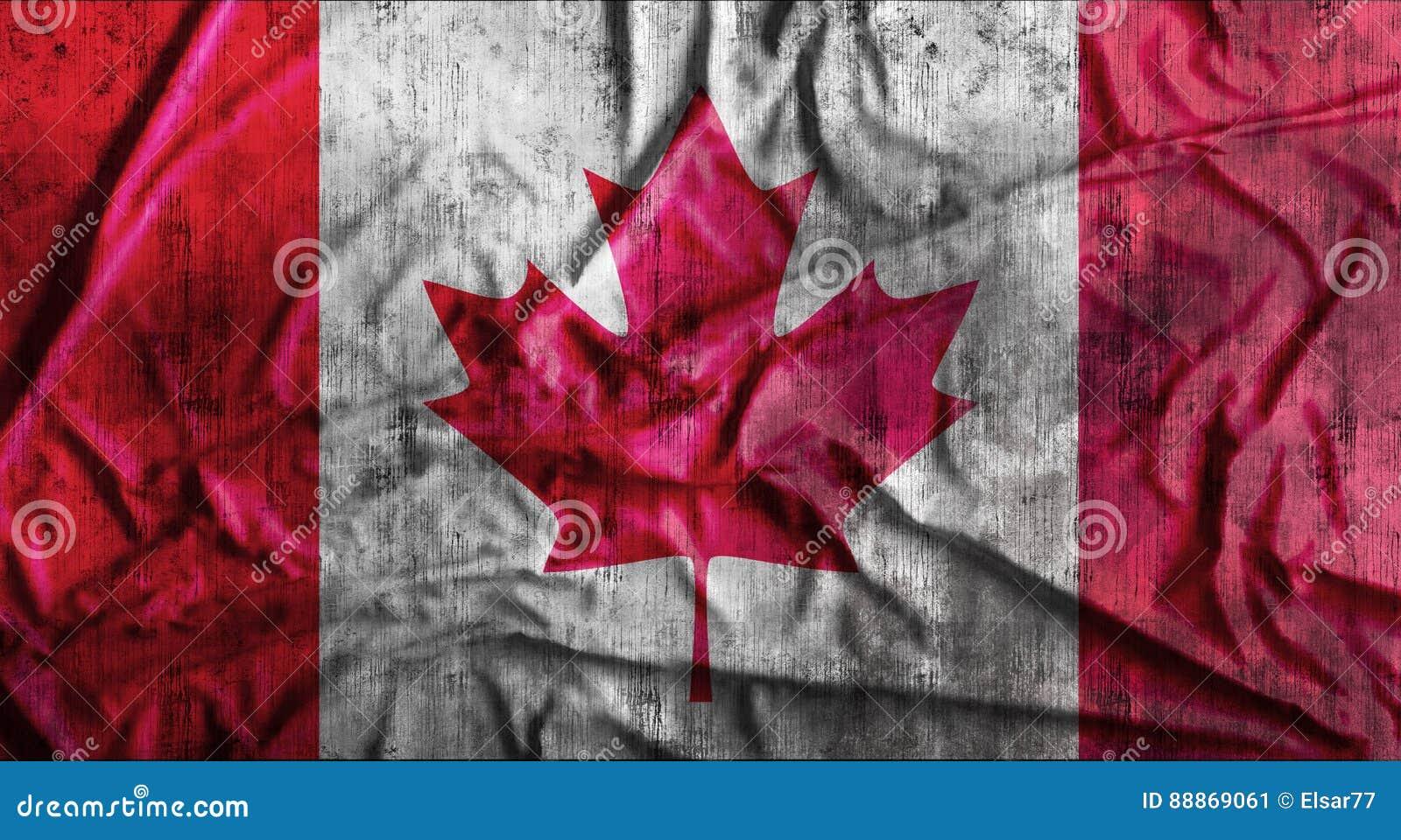 Grunge miąca kanadyjczyk flaga świadczenia 3 d