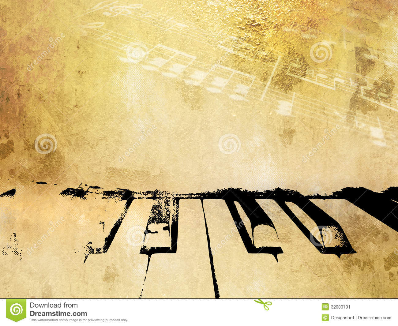 Grunge Music Background - Vintage Piano And Music Notes ...