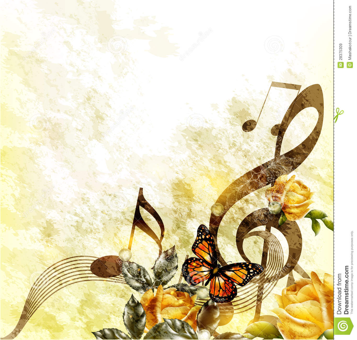 grunge music romantic background with notes and roses April Showers Clip Art Free Flip Flop Clip Art Free