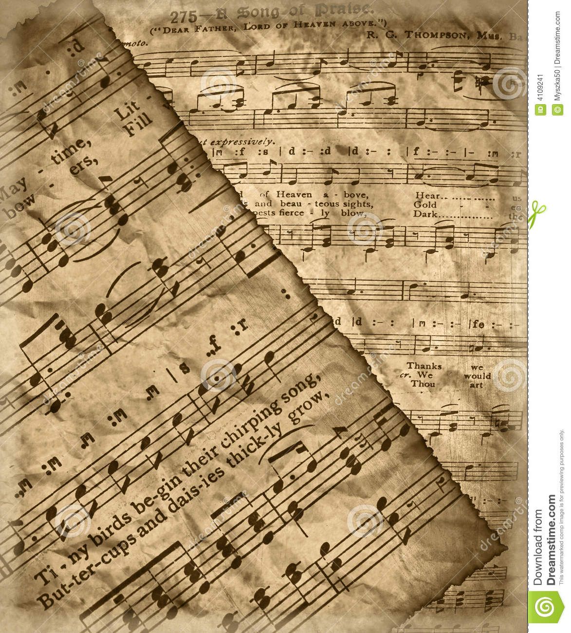 Old Music Sheets Old vintage music sheet with