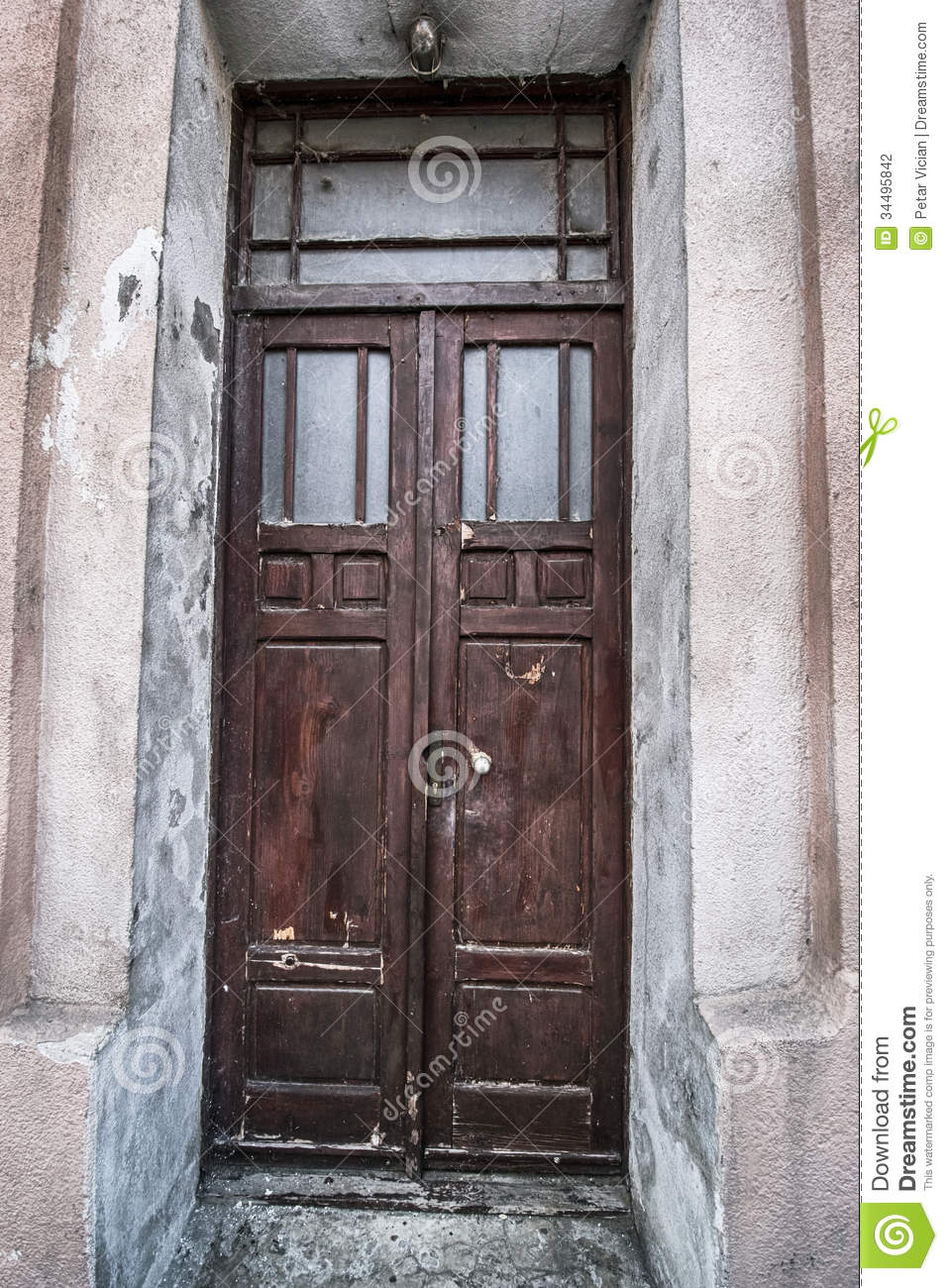 Grunge old house home wooden door