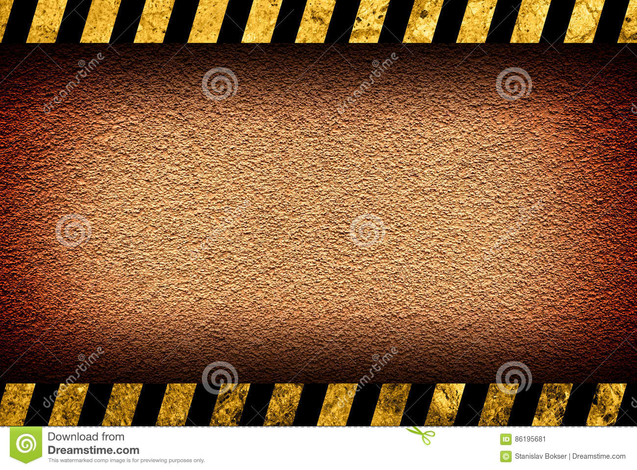 Grunge orange wall background with warning stripes