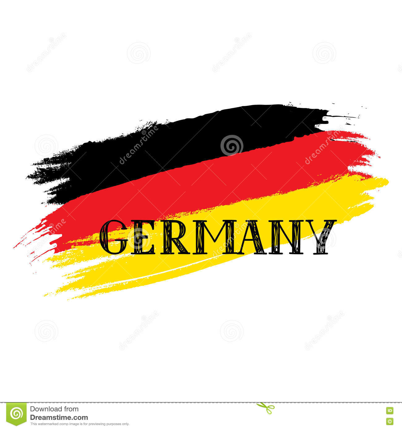 Grunge Painted German Flag, Handwritten Lettering Germany. Stock ...