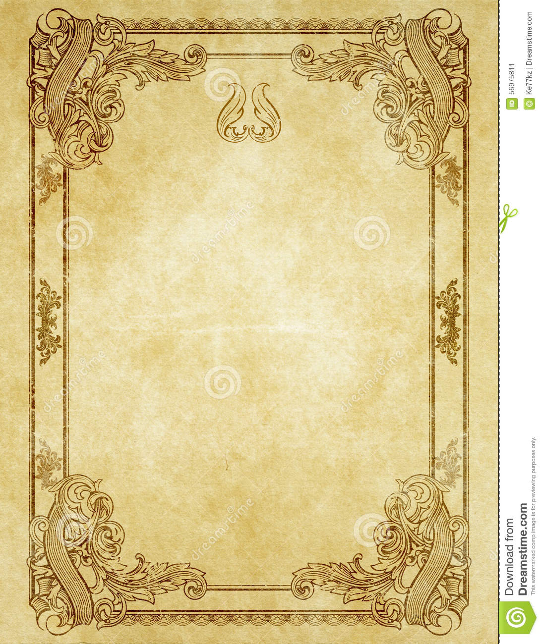 Custom Card Template french id card template : Grunge Paper With Antique Frame. Stock Illustration - Image: 56975811