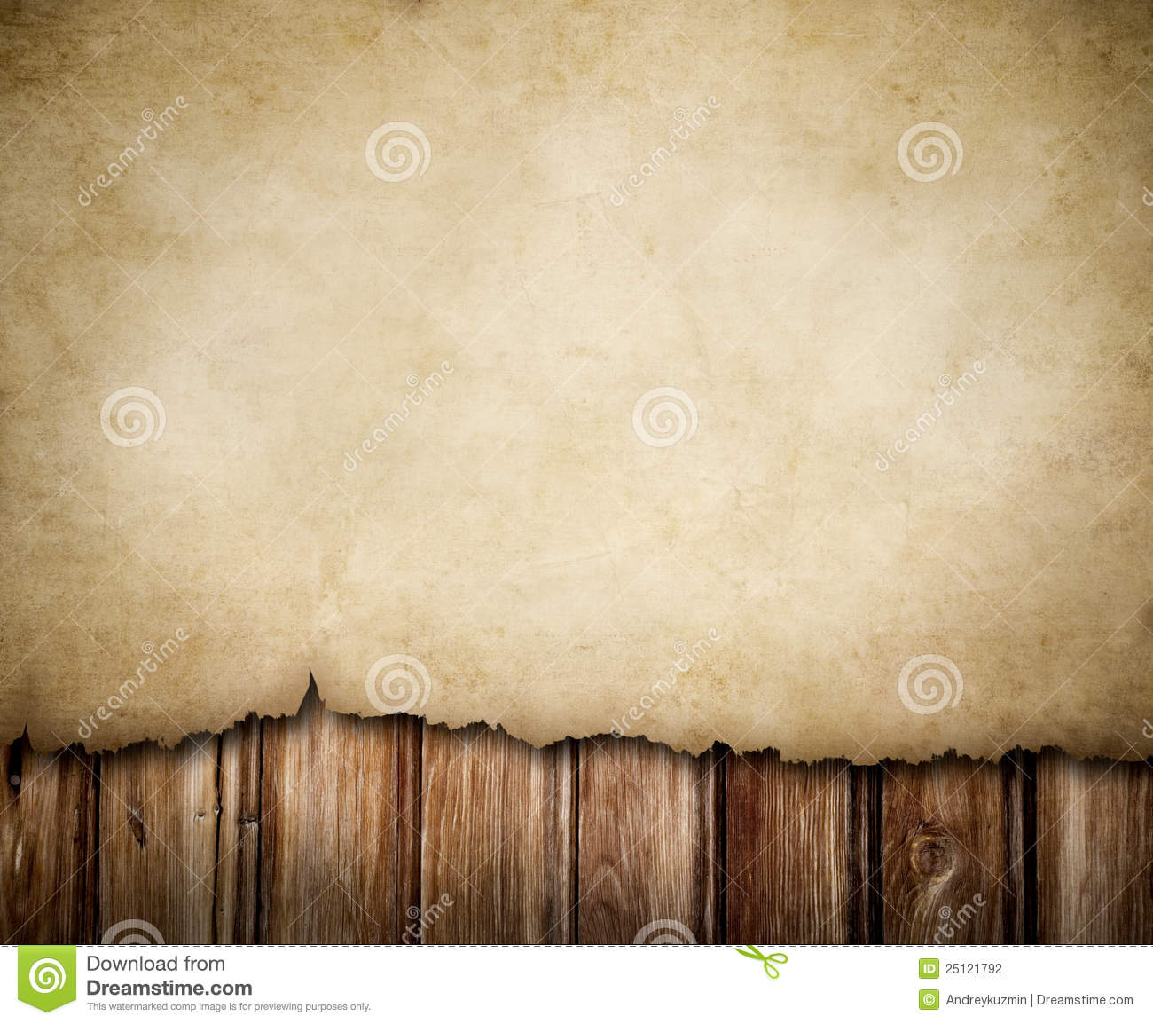 Grunge Paper Notice On Wooden Wall Background Stock
