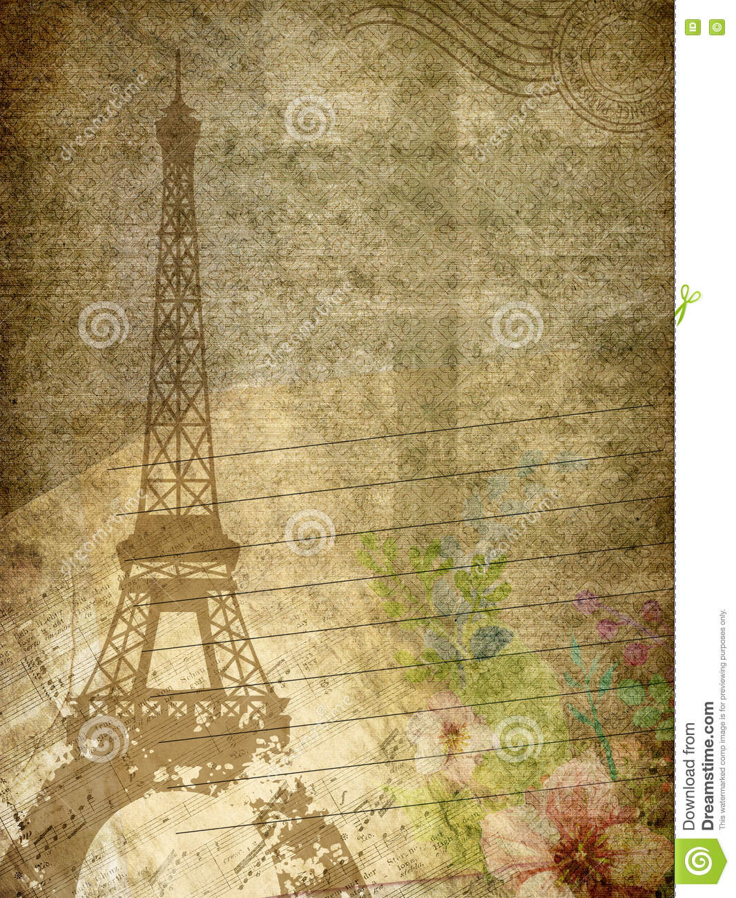 Grunge Paper Texture With Eiffel Towermusic Note And Flowers Stock