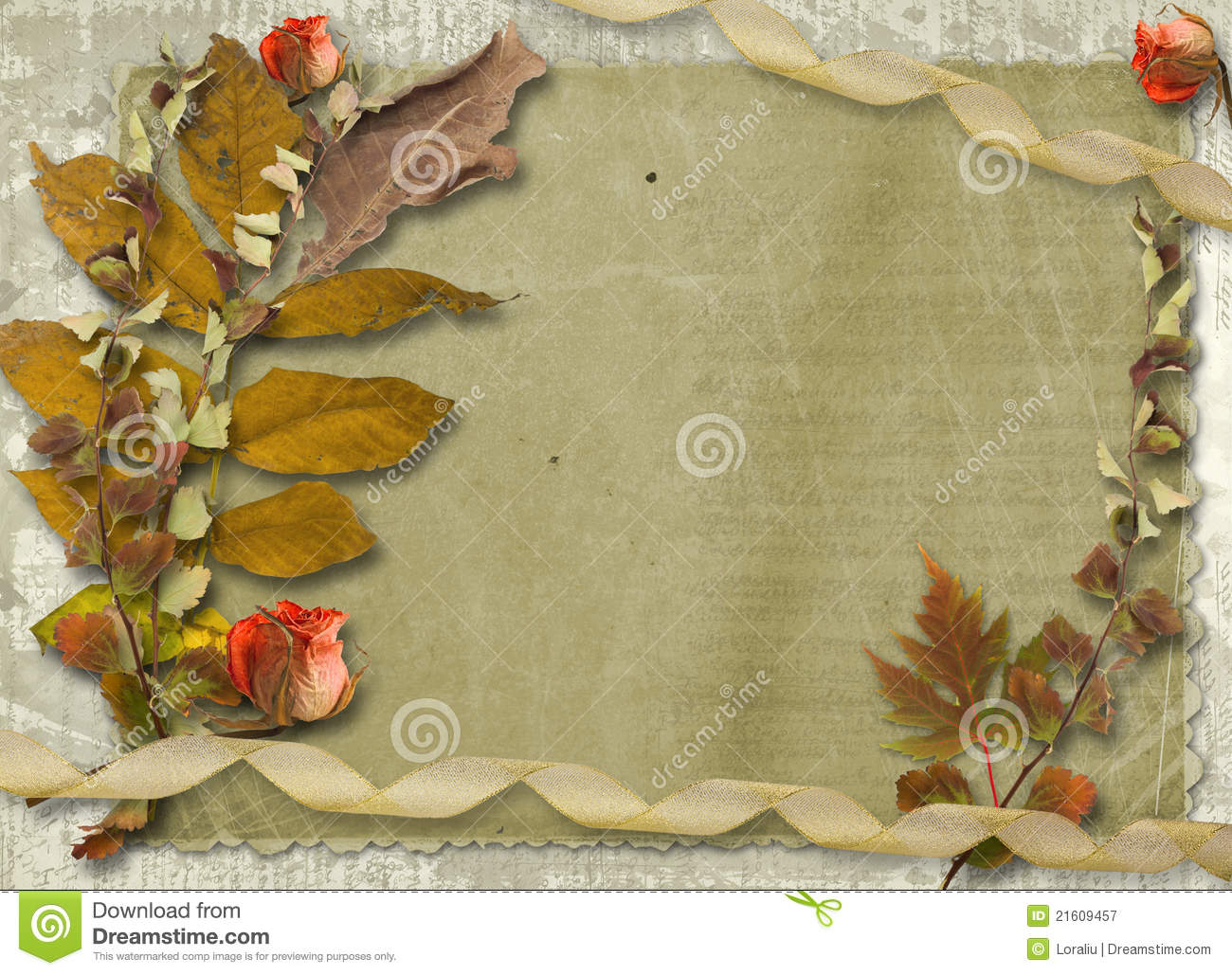 grunge papers design with slides and foliage stock illustration