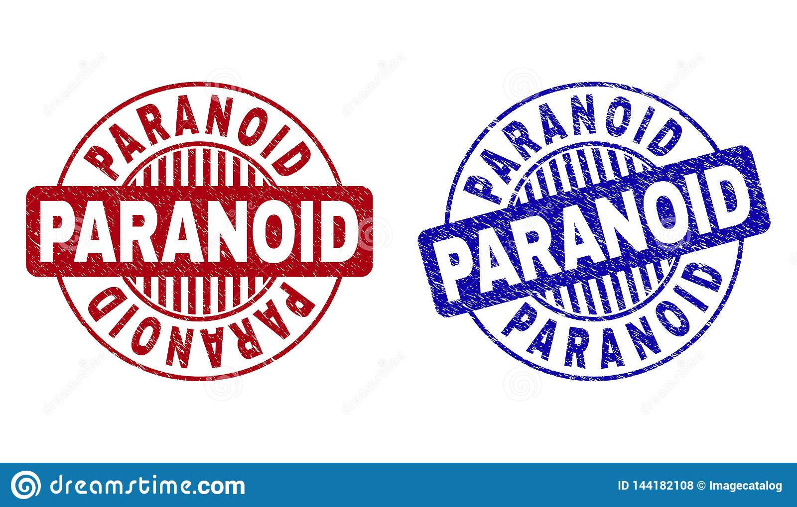 Grunge PARANOID Scratched Round Stamps