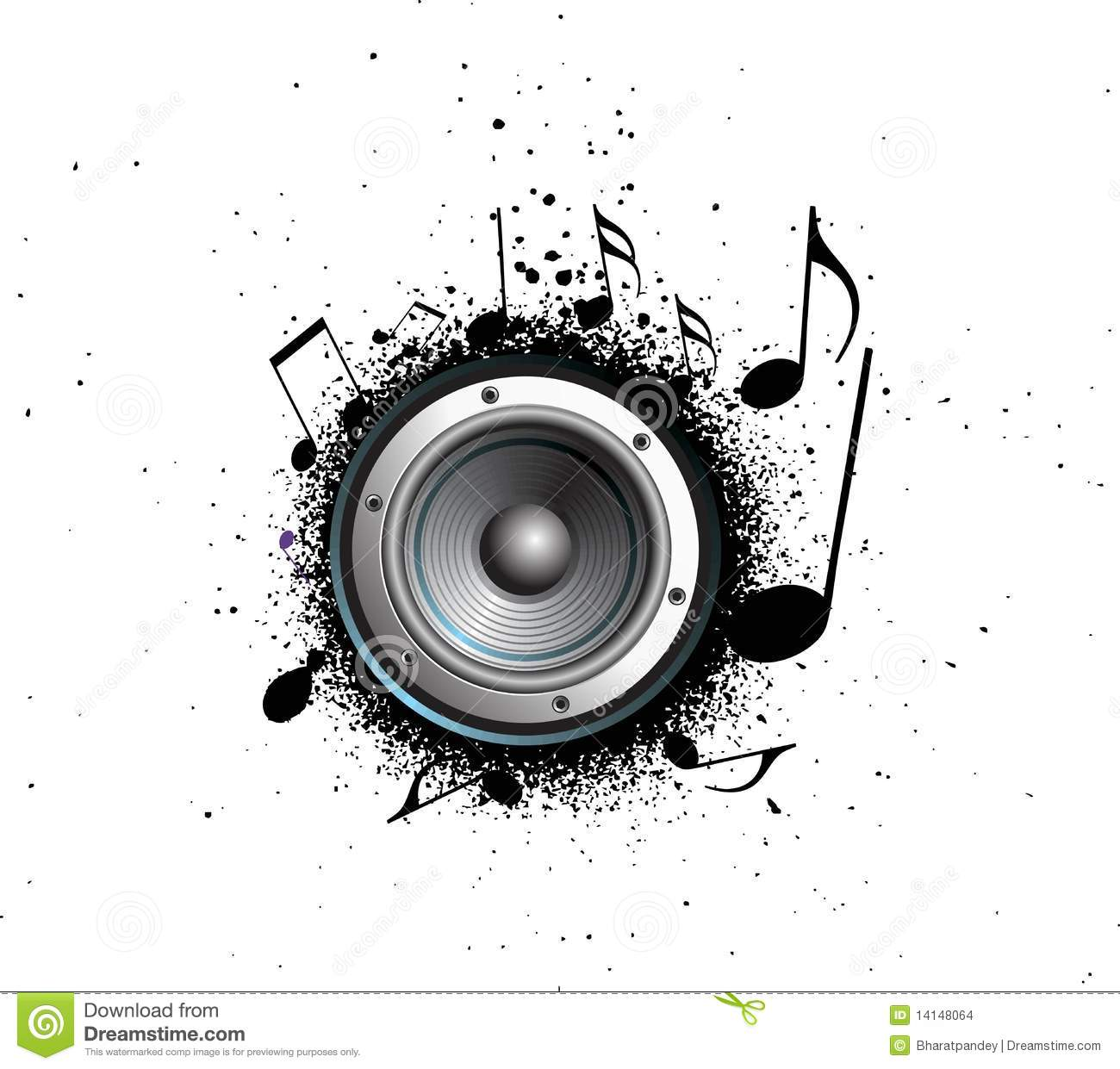 Grunge Party Speaker Music Notes Stock Vector