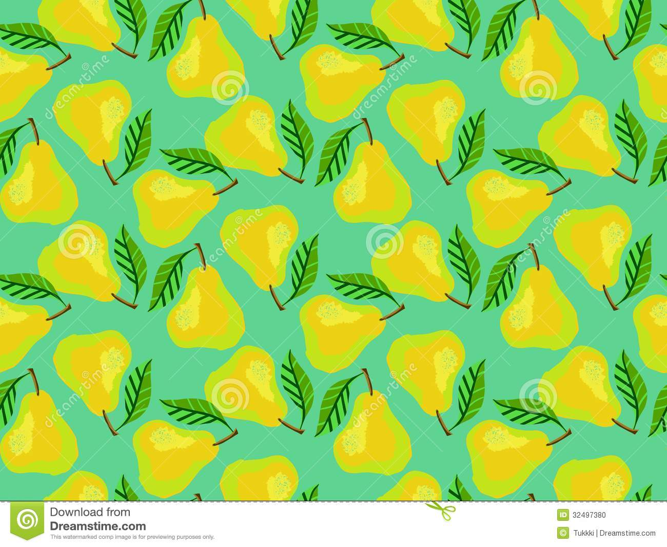 Grunge Pattern With Painted Yellow Pears And Leafs Stock Photo Image