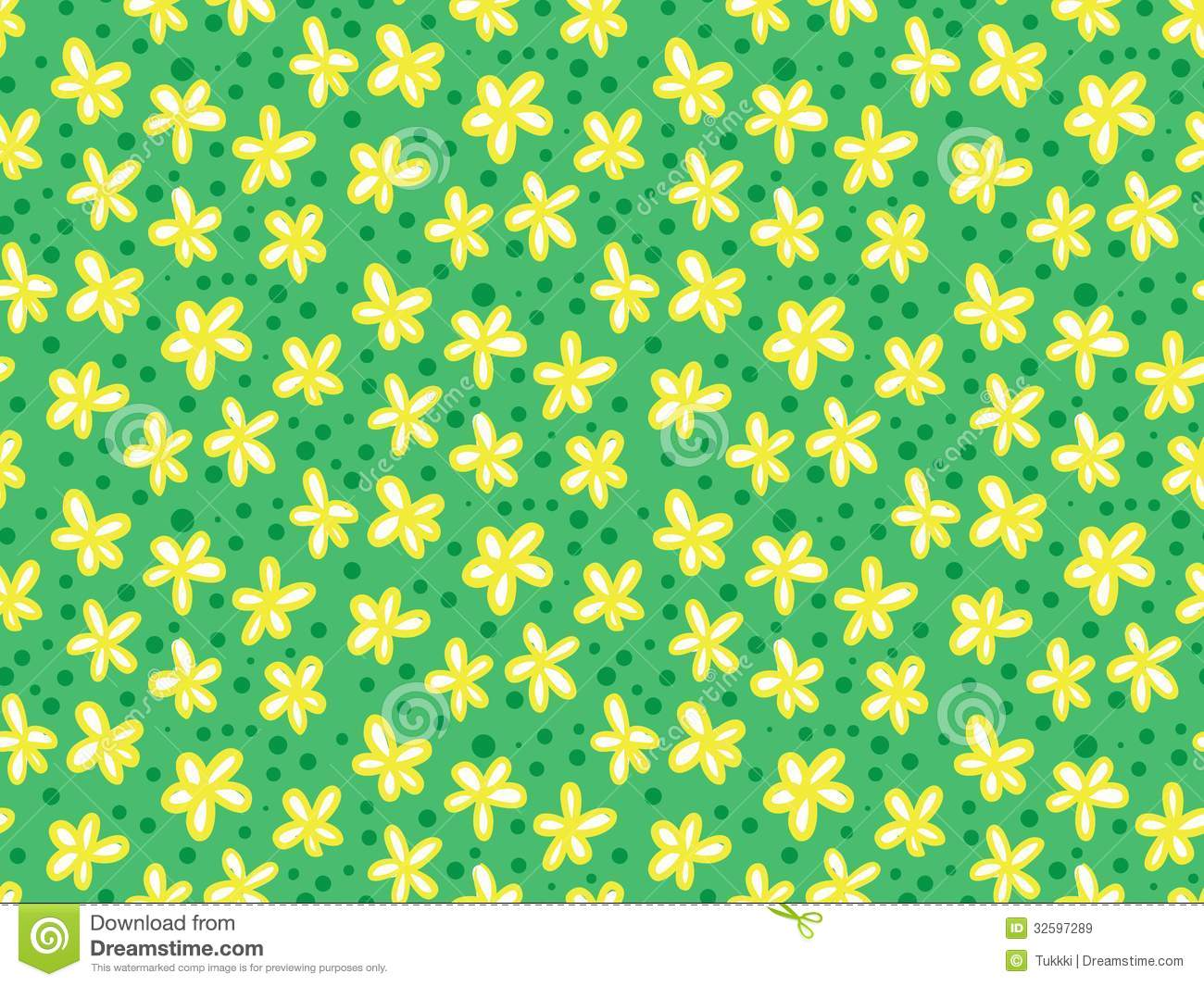 Grunge Pattern With Small Flowers And Leafs. Royalty Free