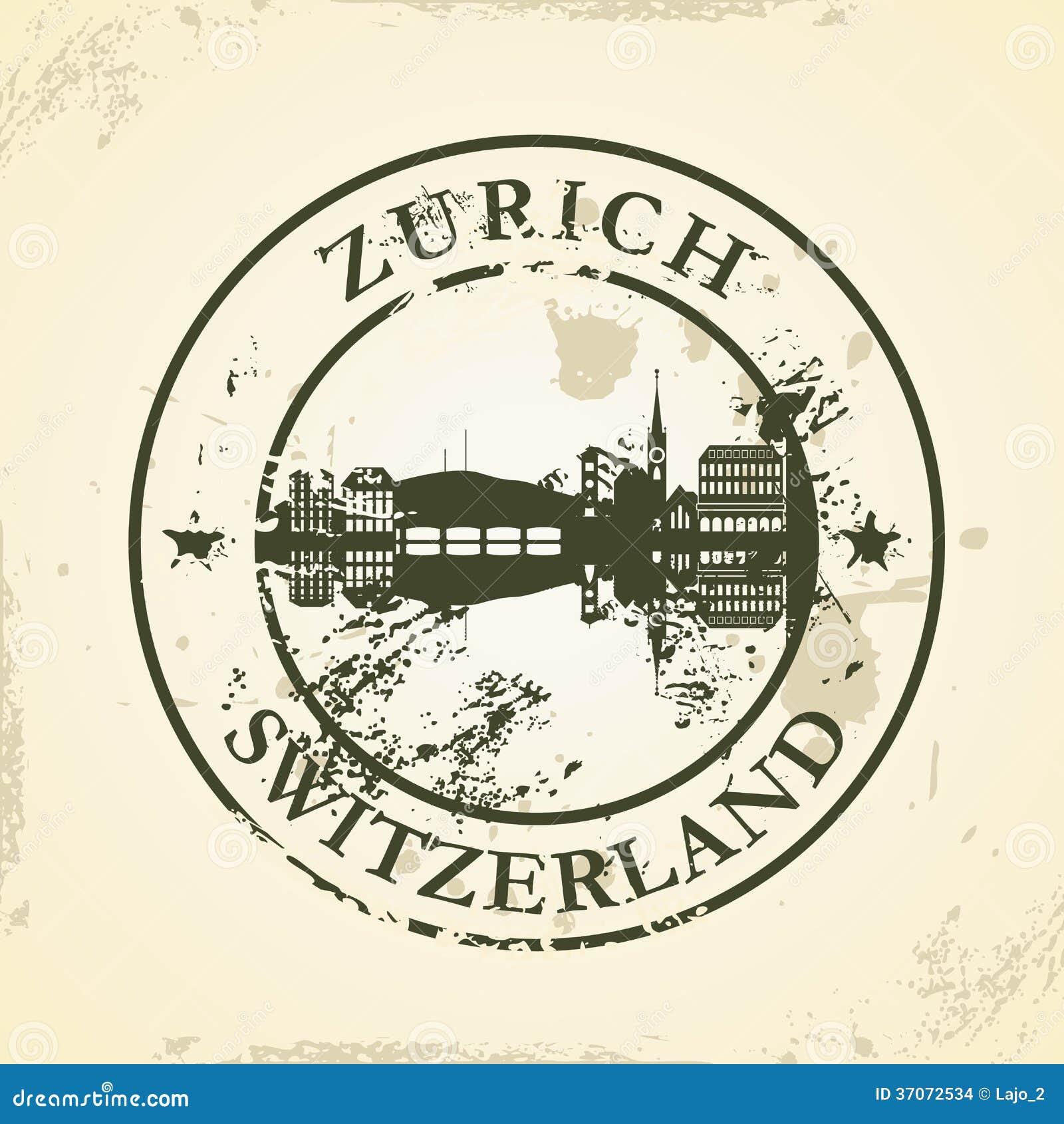 Grunge pieczątka z Zurich, Szwajcaria