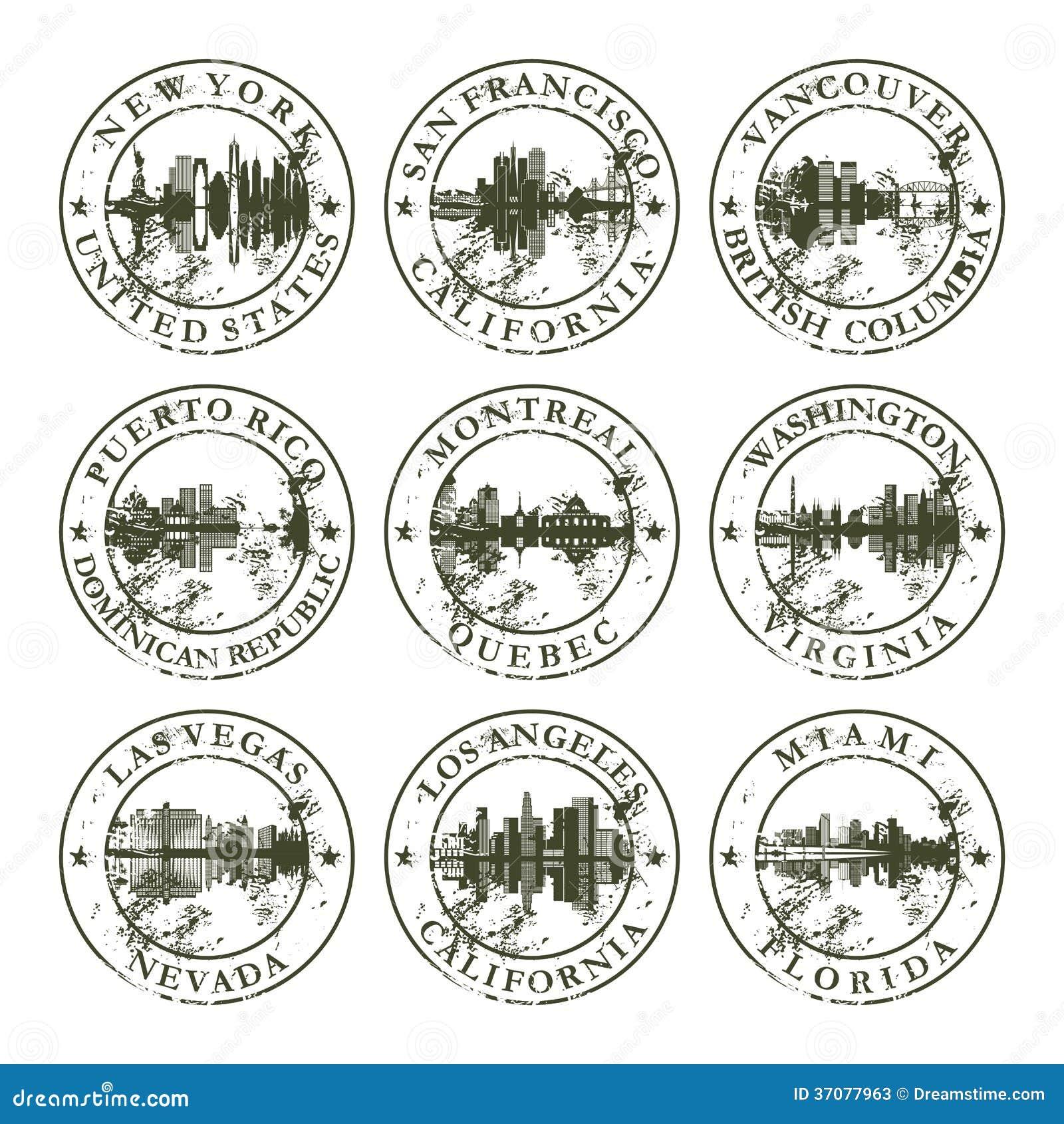 Download Grunge Pieczątki Z Amerykańskimi Miastami Ilustracja Wektor - Ilustracja złożonej z aged, brudny: 37077963